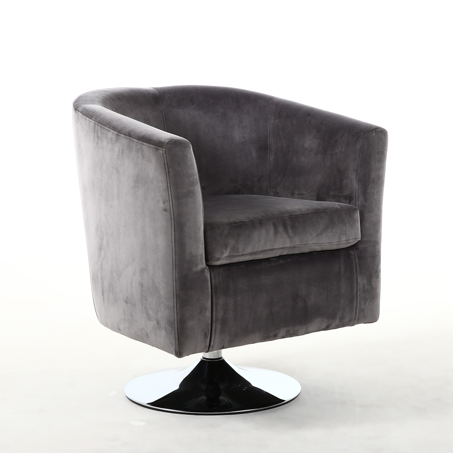 Grey Brushed Velvet Tub Chair With Round Chrome Swivel Base
