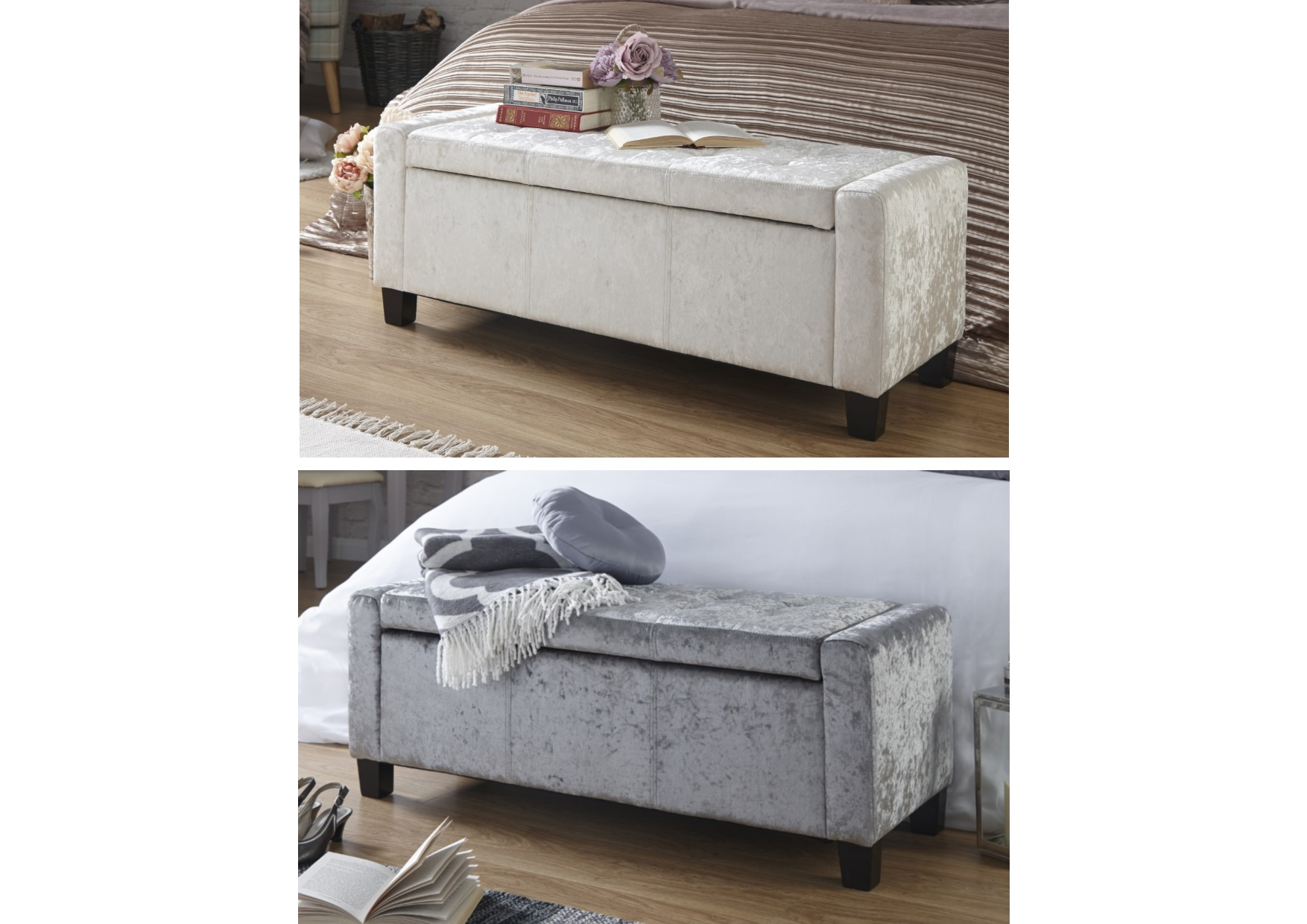 Ottomans Ellis Dark Grey Velvet Finish Storage Chest: Verona Oyster Cream Silver Grey Crushed Velvet Ottoman
