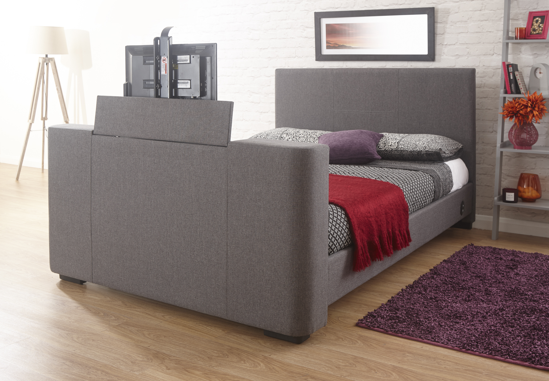 newark electric tv bed grey fabric bed lift mechanism double or king size ebay. Black Bedroom Furniture Sets. Home Design Ideas