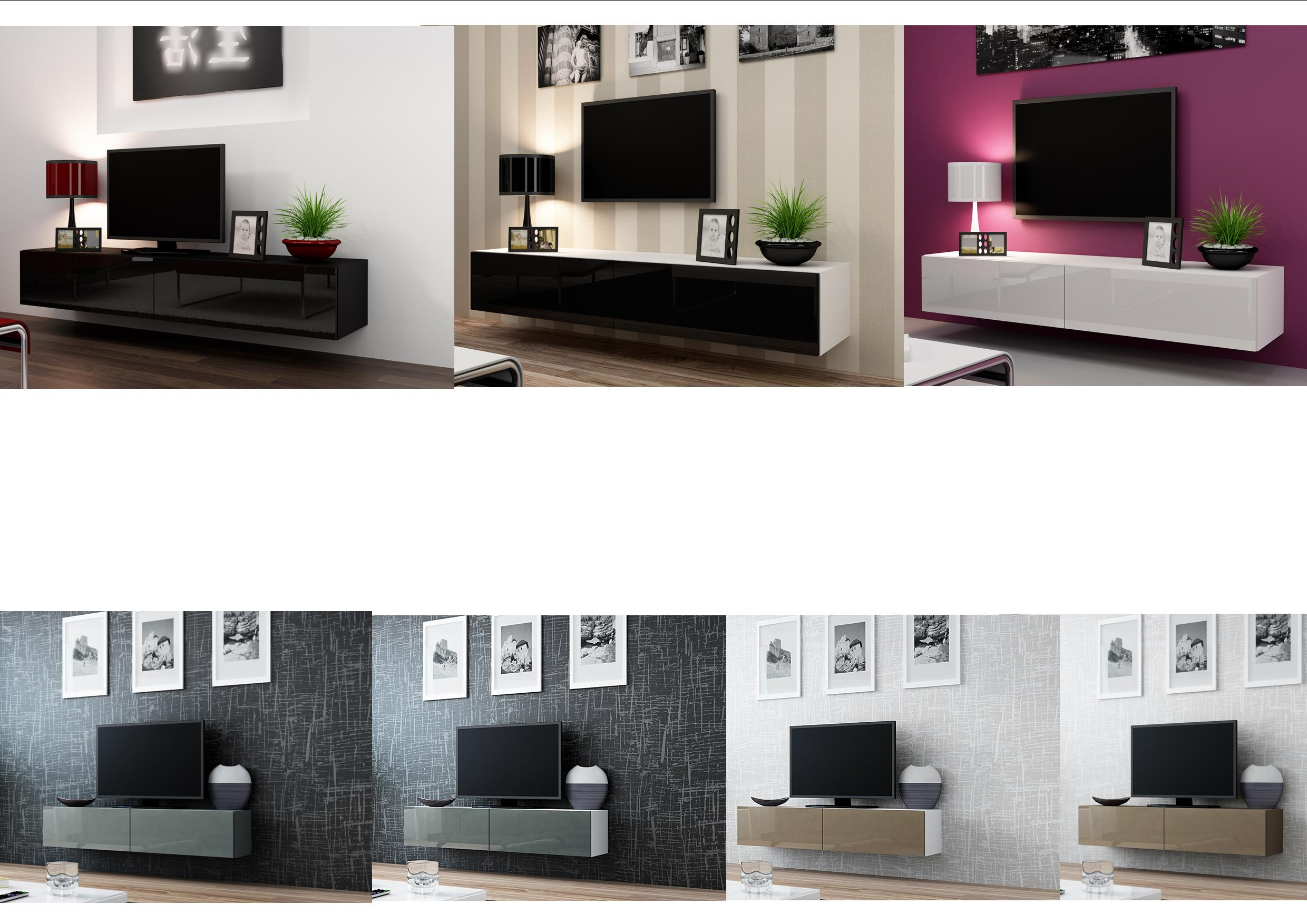High Gloss TV Stand Entertainment Cabinet - 140cm or 180cm Floating ...