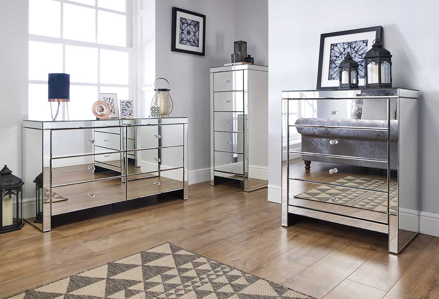 Birlea Seville Mirrored Bedroom Furniture Range Mock Crystal Handles