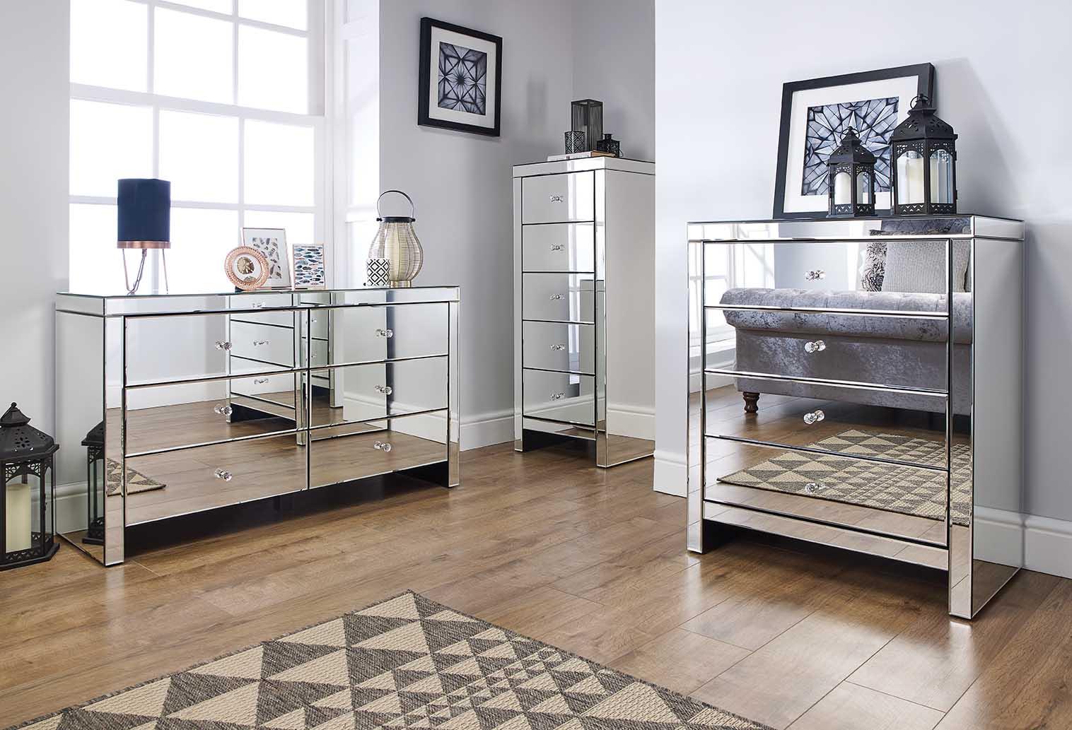 Details About Birlea Seville Mirrored Bedroom Furniture Range Mock Crystal Handles Assembled