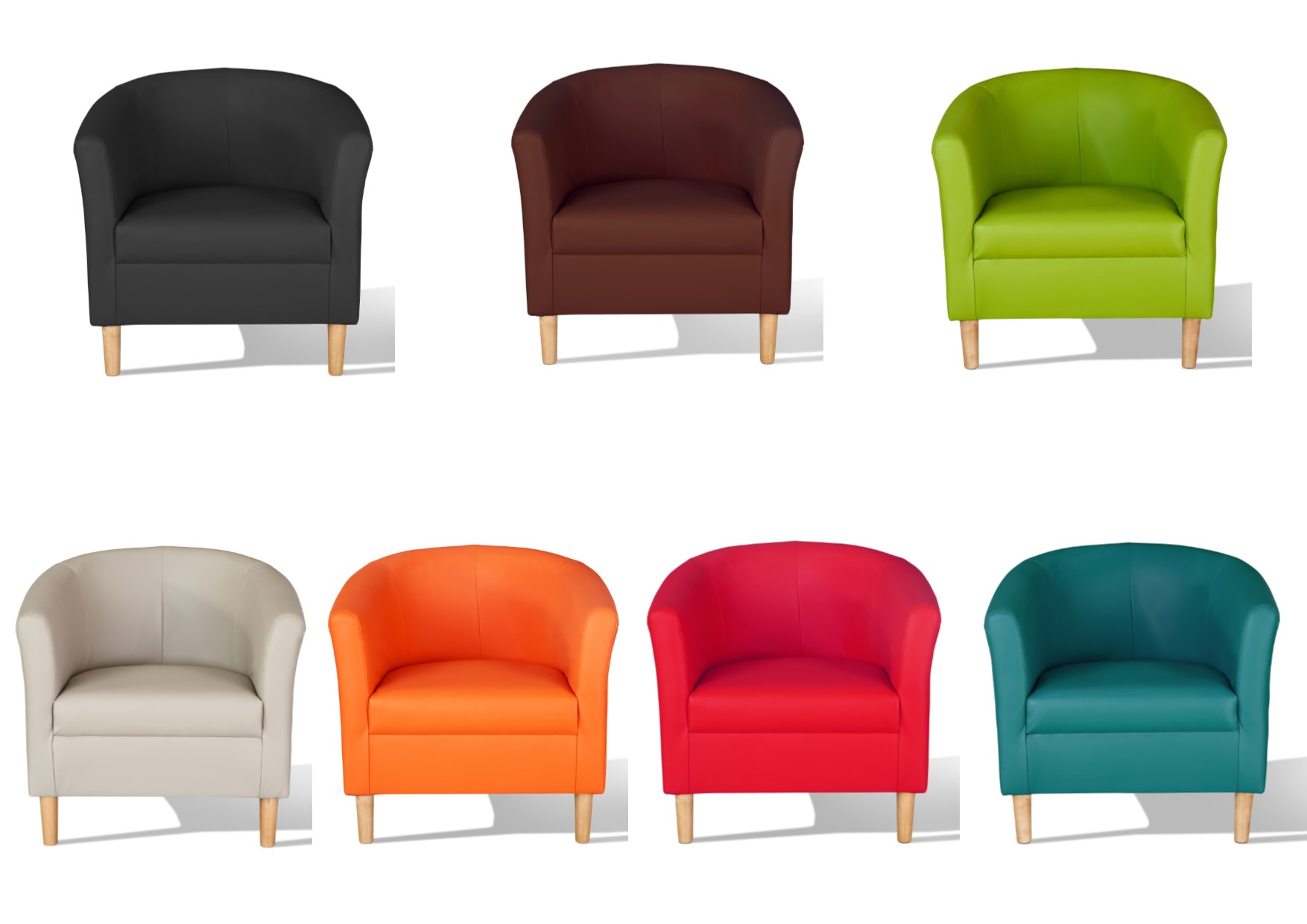 Hamony Faux Leather Tub Chairs - Black, Mocha, Chestnut, Red, Teal ...