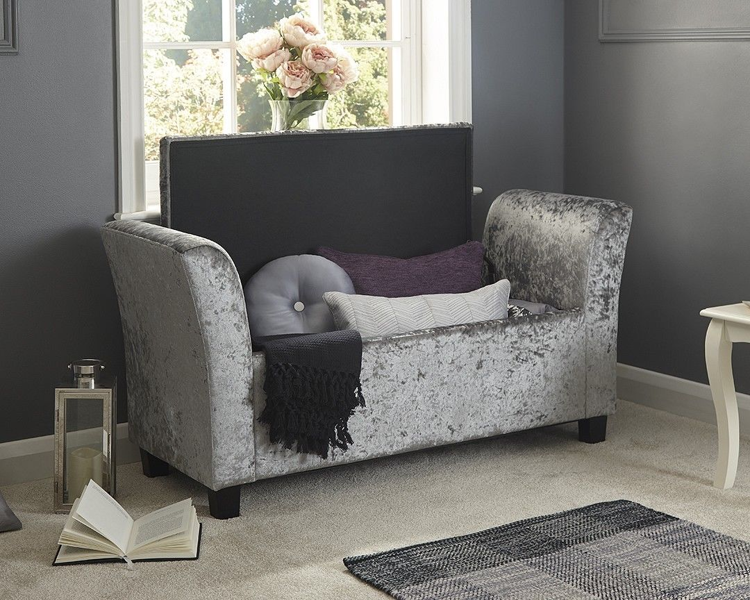 Ottomans Ellis Dark Grey Velvet Finish Storage Chest: Verona Oyster Cream Silver Grey Crushed Velvet Window Seat