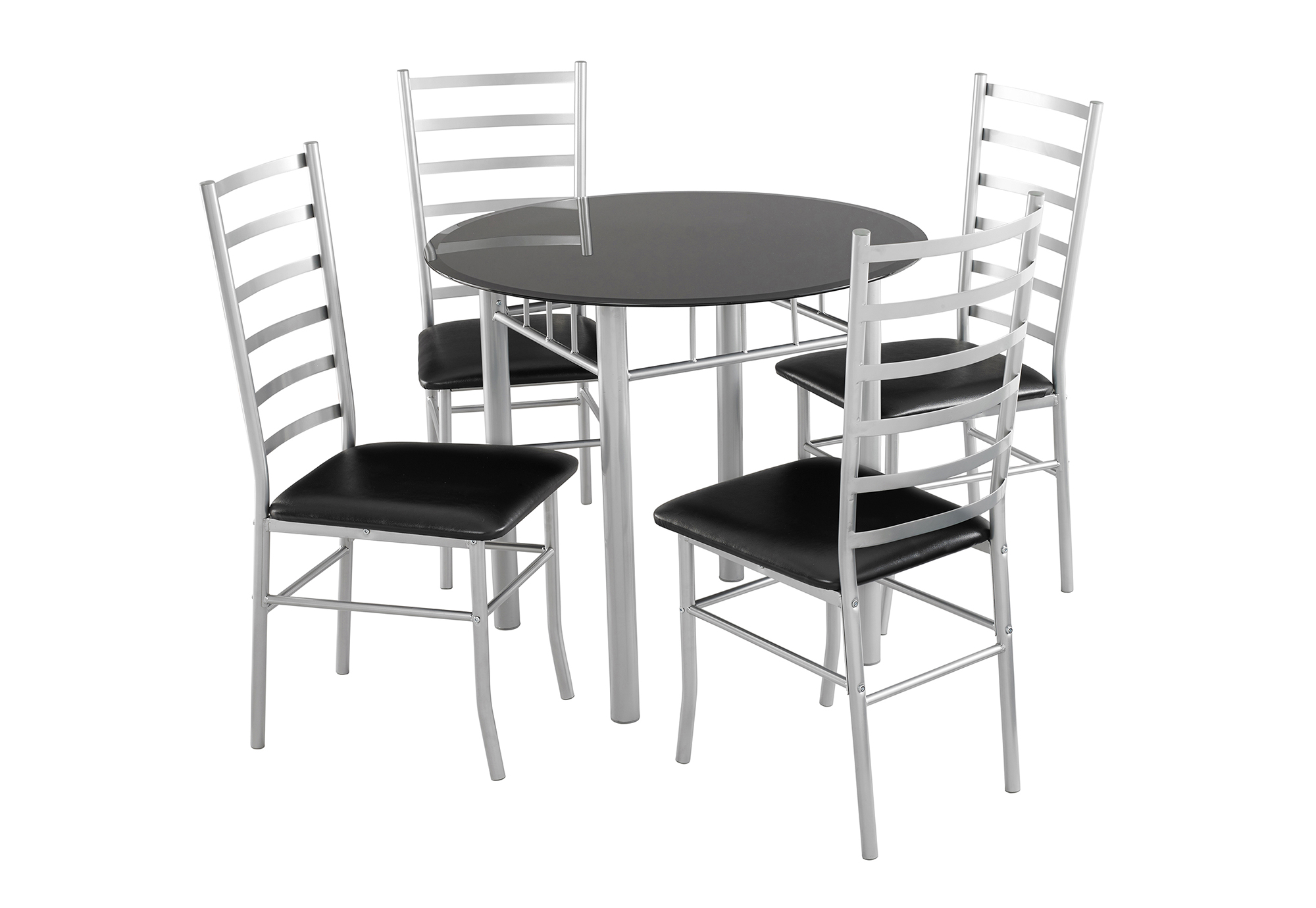 Lincoln Dining Set 4 Seater   Black Glass Dining Table U0026 4 Chairs   Padded  Seats
