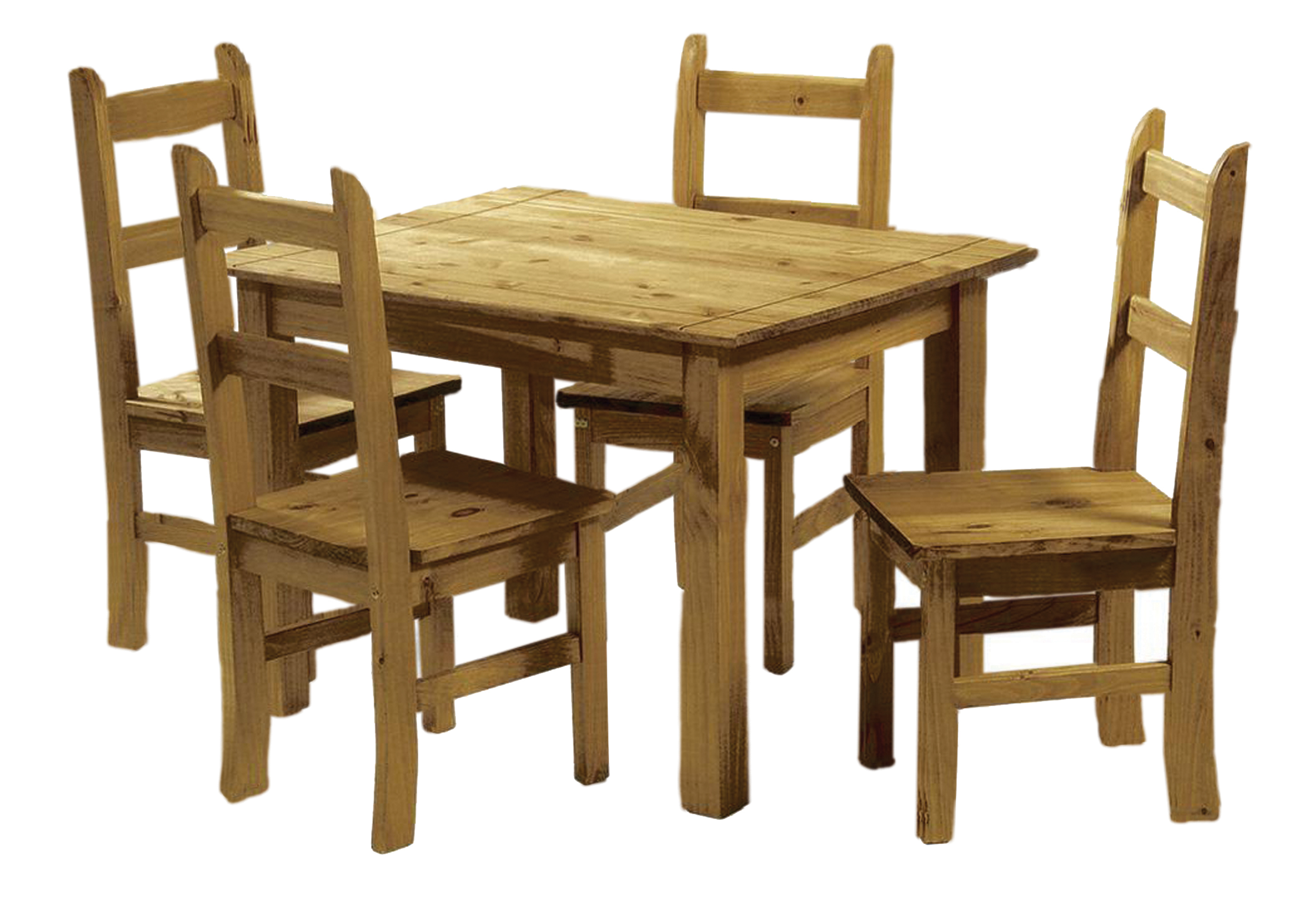 Solid pine dining set table and chairs corona