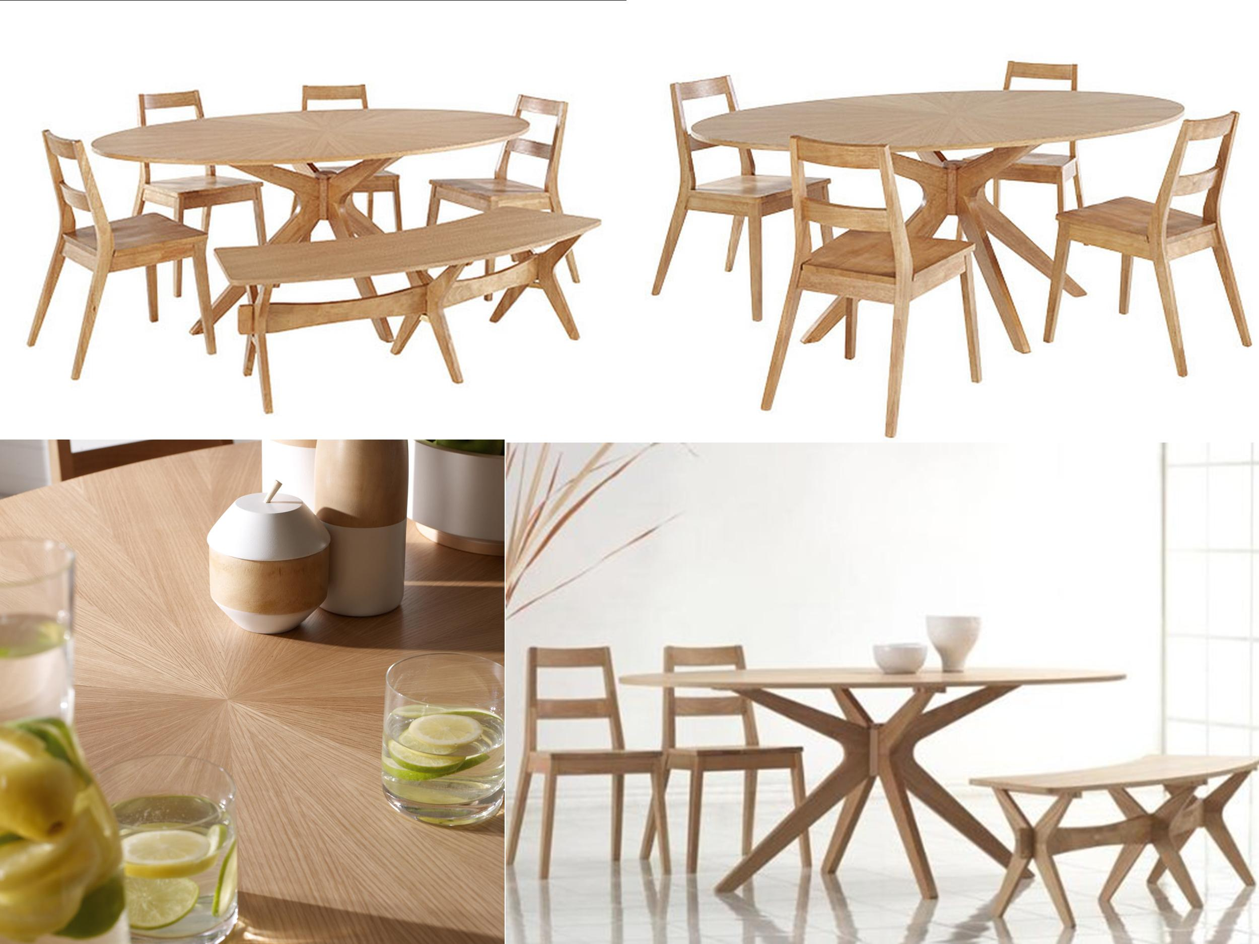 Malmo dining sets oval table chairs bench oak solid wood scandinavian