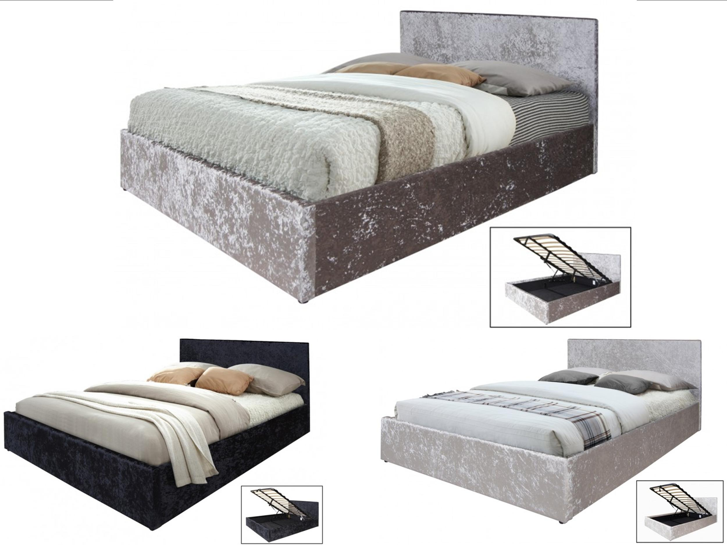 Wondrous Details About Crushed Velvet Ottoman Storage Bed 4Ft6 Double Gas Lift Up Black Champagne Grey Ncnpc Chair Design For Home Ncnpcorg