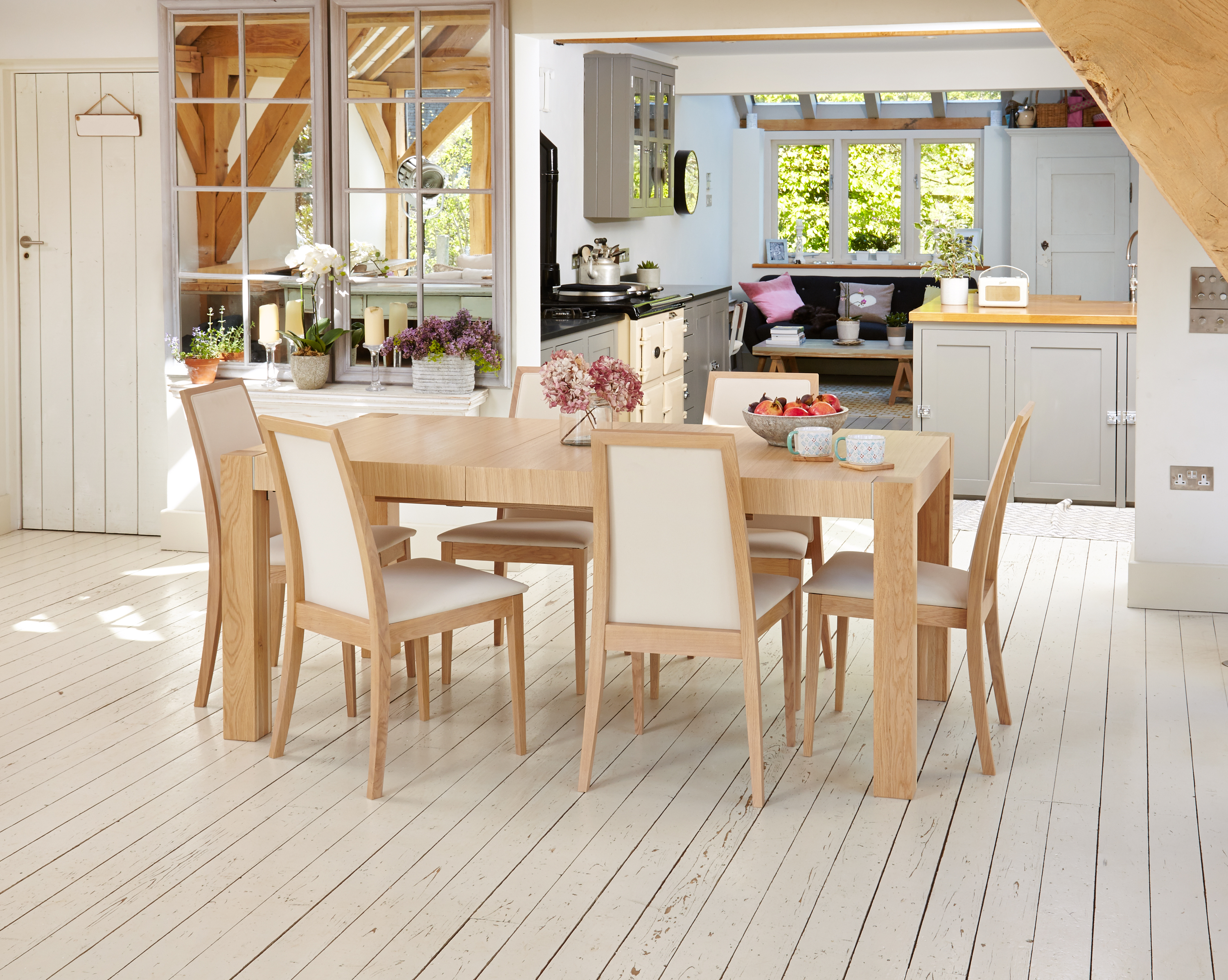 new concept 2d8c7 25697 Details about Baumhaus Uno Light Oak Dining Set - Extending Table & 8 Cream  Dining Chairs