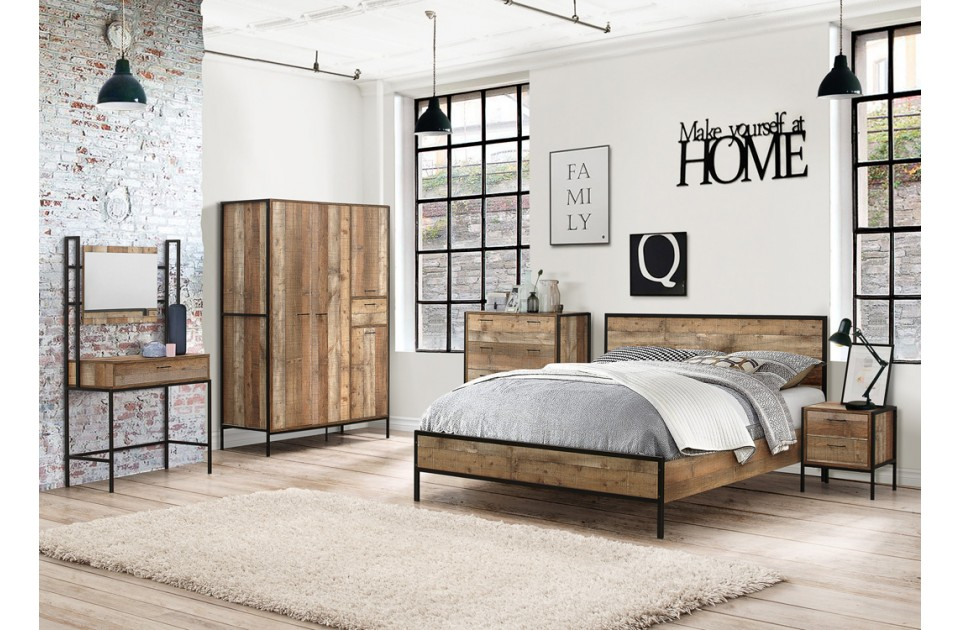 Birlea Urban Bedroom Range With Metal Frames Bedside Storage