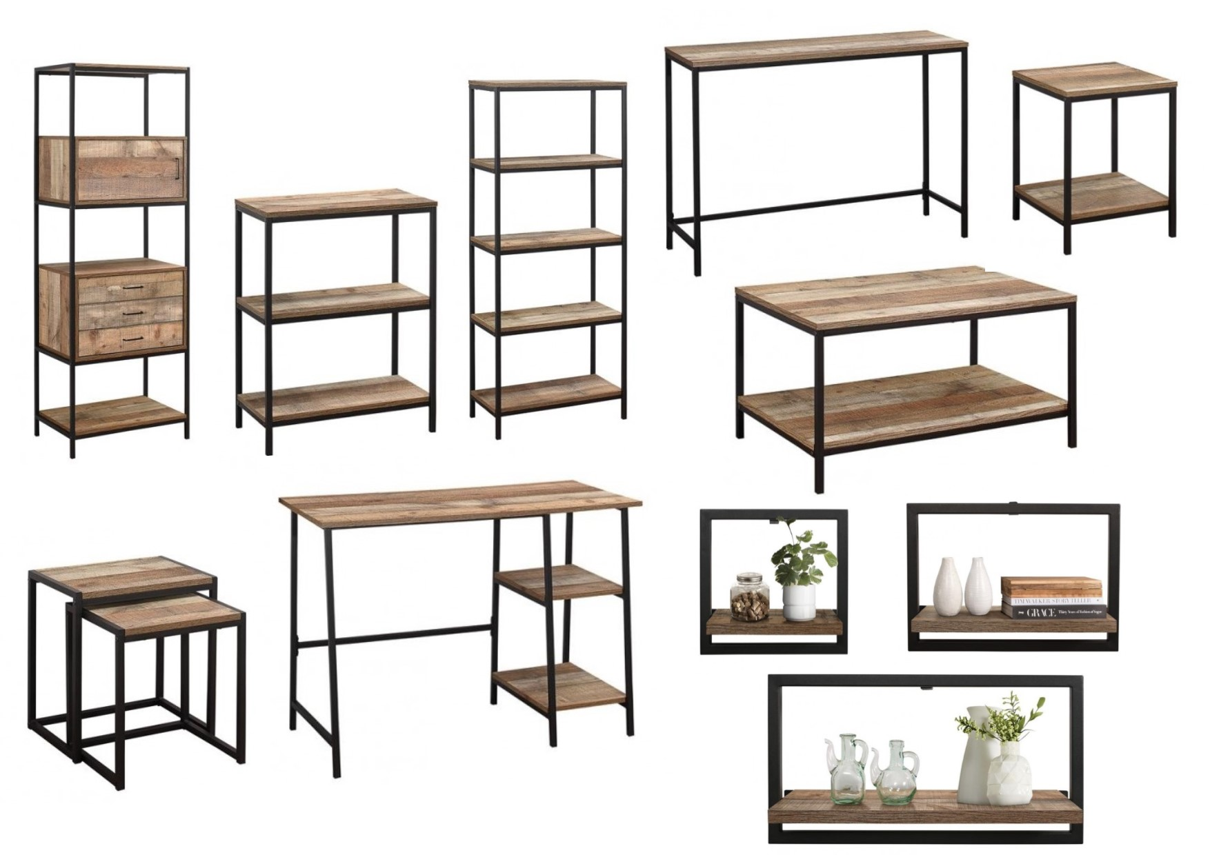 urban industrial furniture. Birlea Urban Industrial Living Furniture - Shelving, Coffee, Side \u0026 Nest Tables