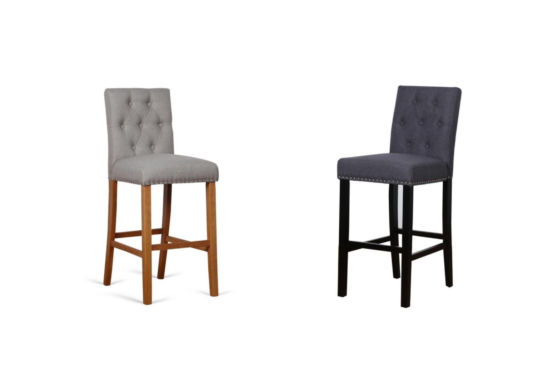 2 X Birlea Hudson High Back Metal Studded Fabric Bar Stools Wheat Or Grey
