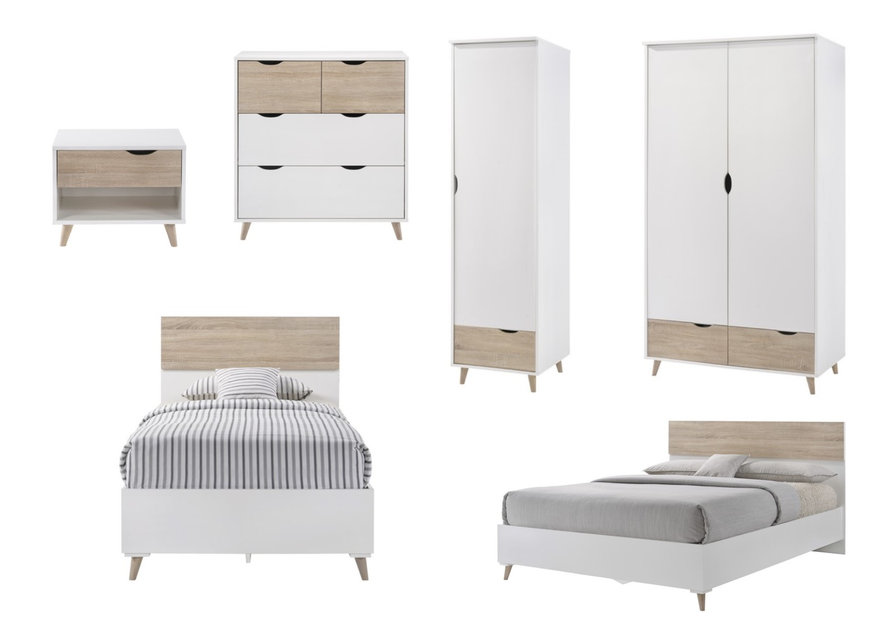 LPD Stockholm White & Oak Scandinavian Style Bedroom Range - Beds ...