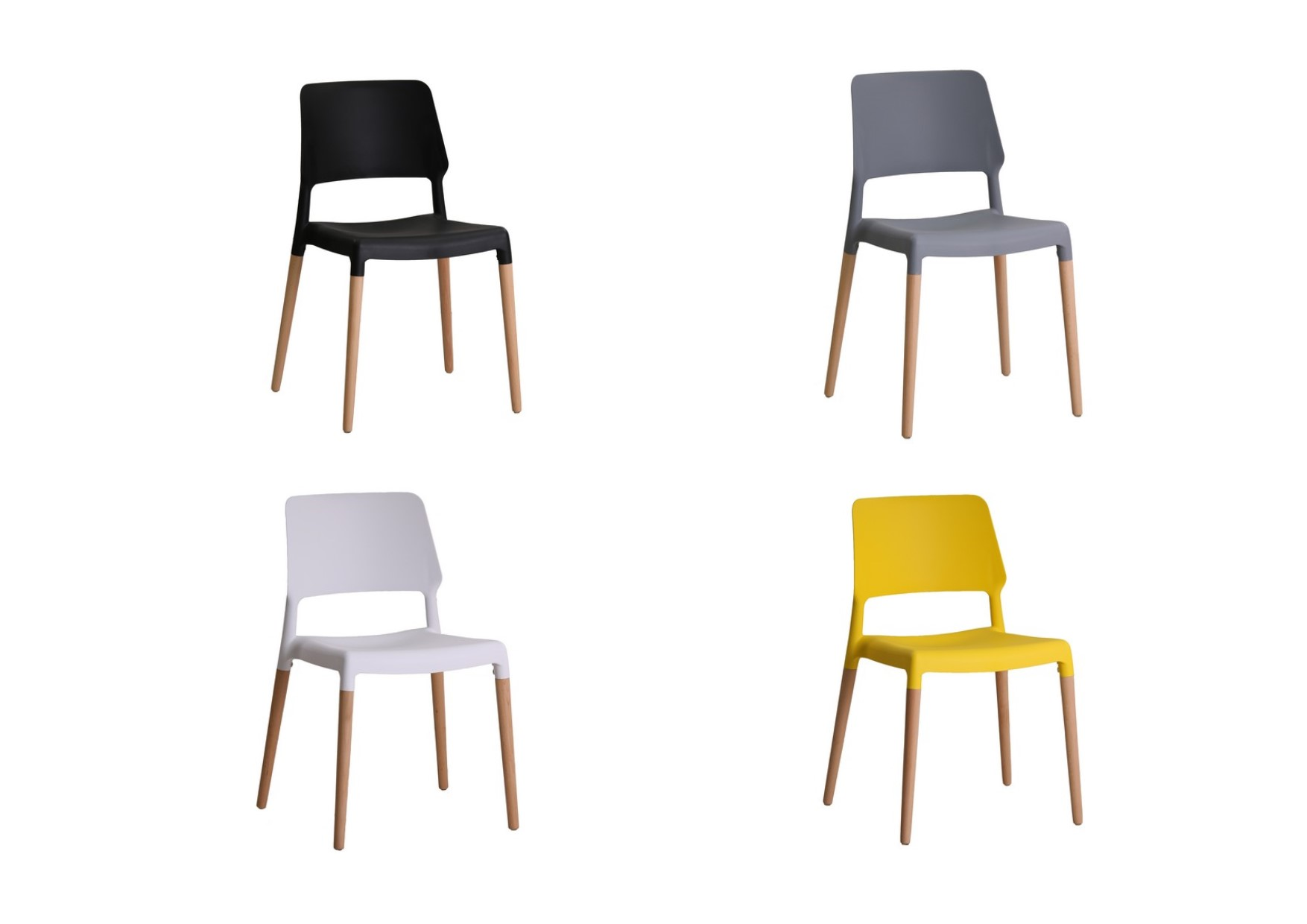 2 X Lpd Riva Modern Plastic Dining Chairs Beech Legs Black Grey White Yellow