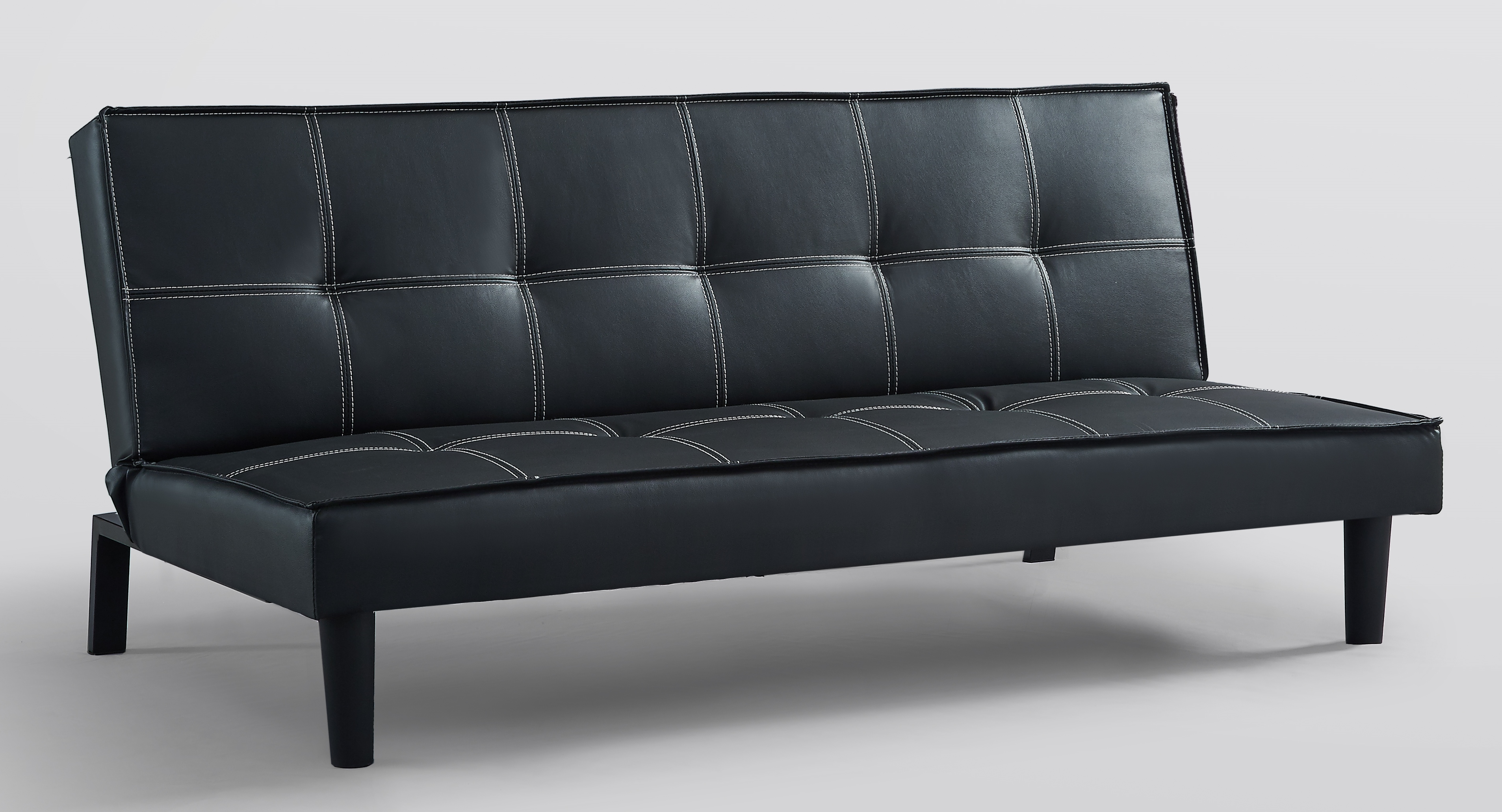 Ashford Sofa Bed Black Faux Leather Solid Wood Frame