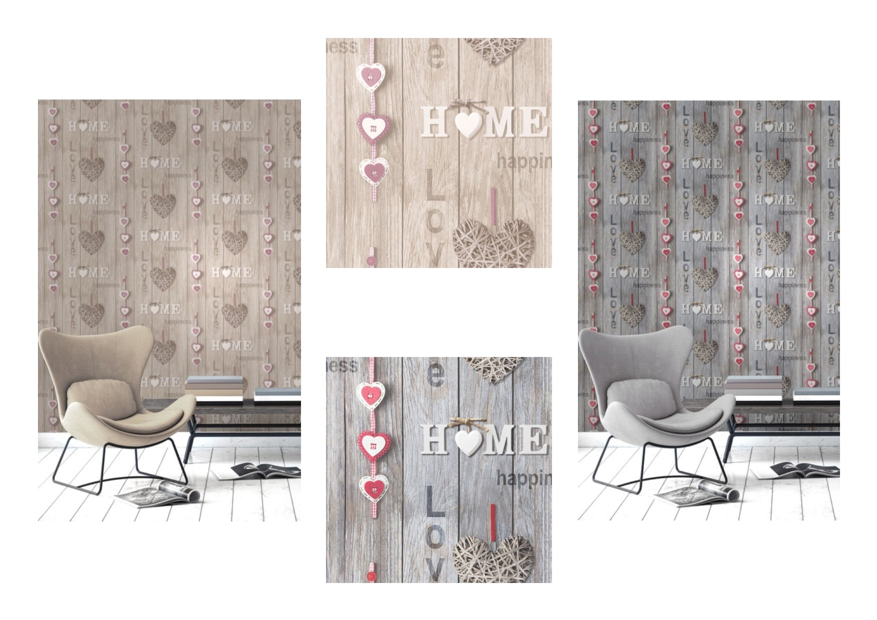 Fine Decor Love Your Home Shabby Chic Wood Effect Wallpaper