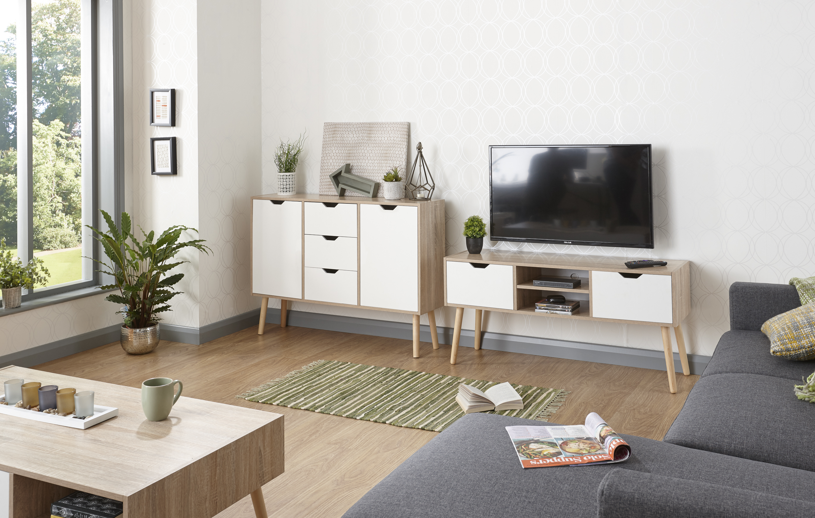 Stockholm White Oak Living Room Range Cabinets Tables Scandinavian Style
