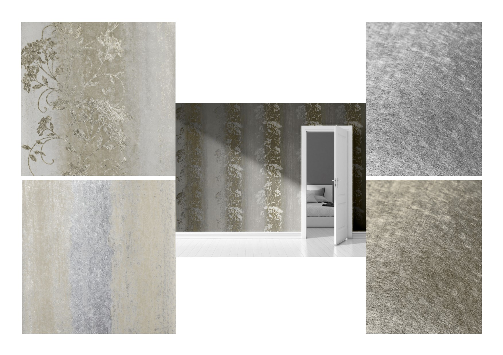 Muriva Sienna Ombre Metallic Silver Gold Foil Wallpaper 701581 701591 701600 701601