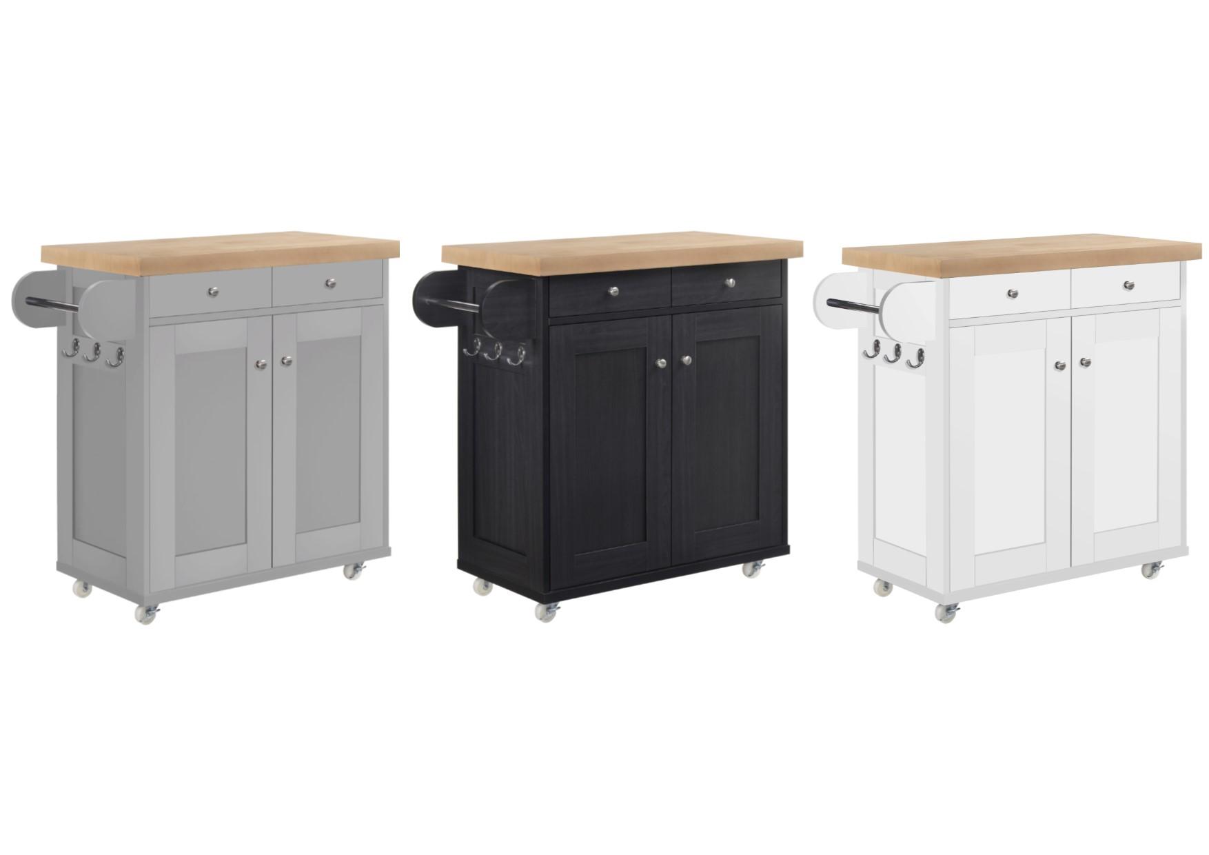 Image of: Lpd Portland Portable Kitchen Island Cart With Storage White Soft Grey Black Ebay