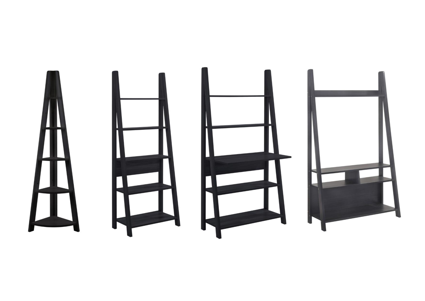 Details About Tiva Ladder Shelving And Desk Range Shelving Tv Unit Bookcase Desk Black