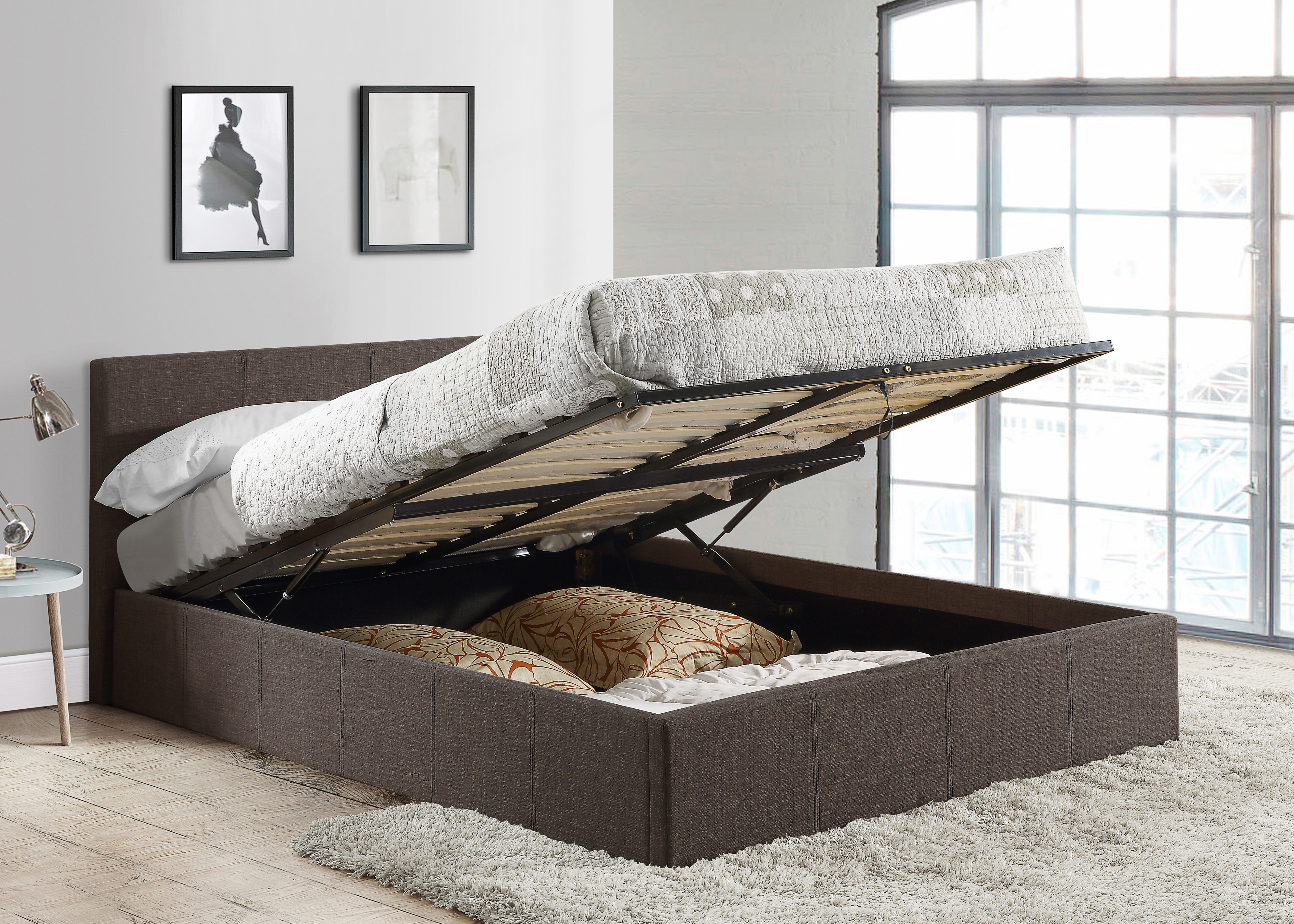 b0f0a19971f1 Birlea Ottoman Storage Bed - Grey Fabric - Gas Lift Up - 3ft, 4ft, 4ft6, 5ft