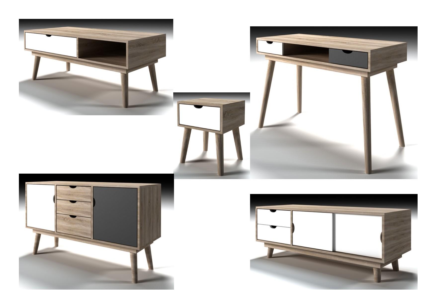 Lpd Scandi Retro Living Room Furniture Sideboard Desk Table Oak White Or Grey Ebay