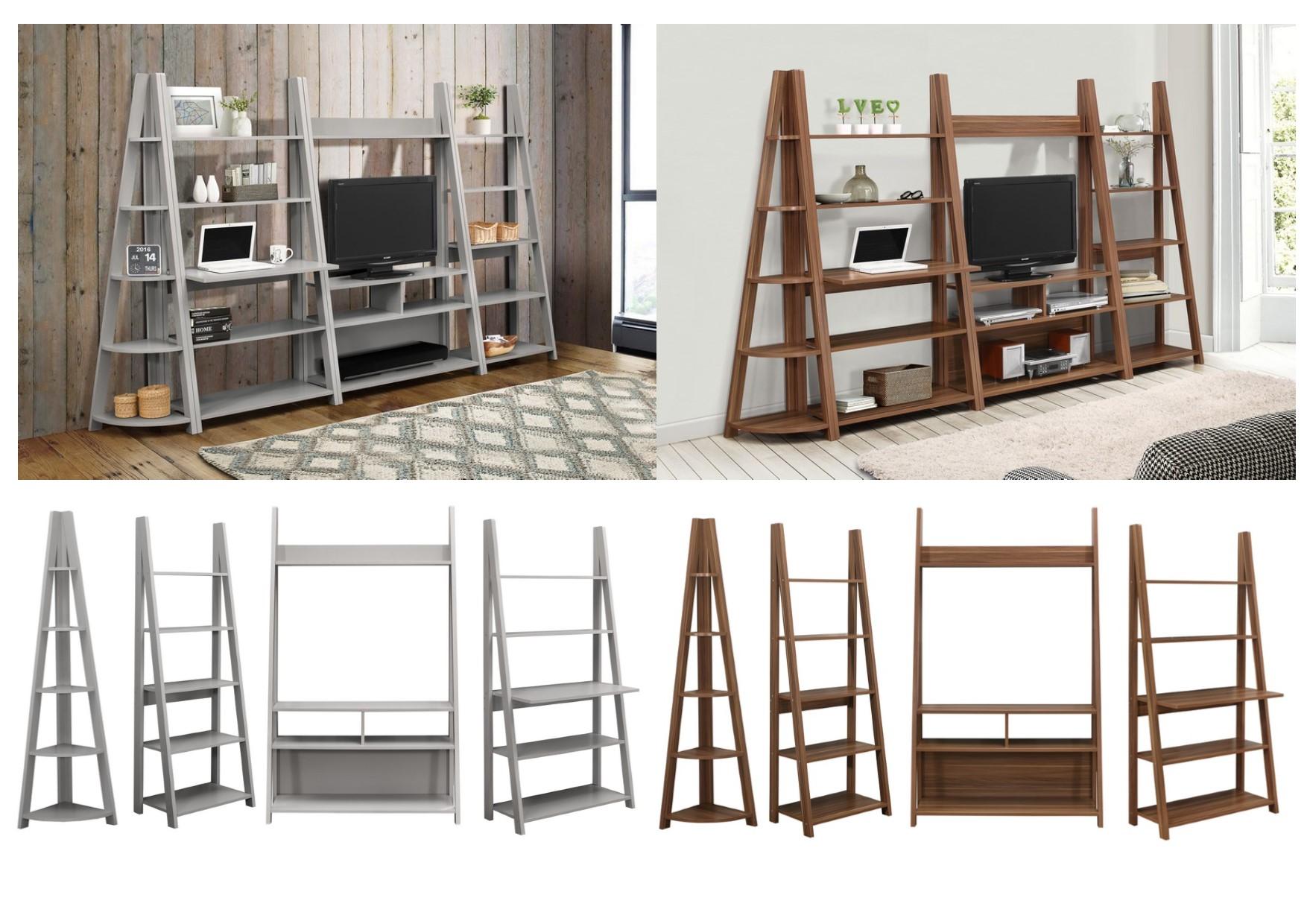 9b5e4736c1ee Birlea Nordic Ladder Shelving Units - Bookcases Tv Unit Desk - Grey Walnut