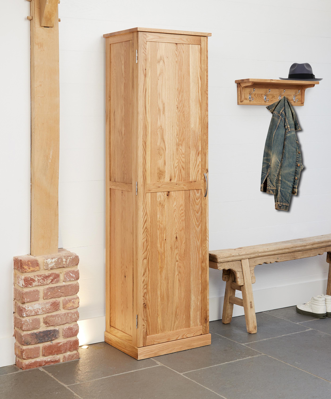 details about baumhaus mobel oak tall shoe cupboard extra wicker basket storage solid oak