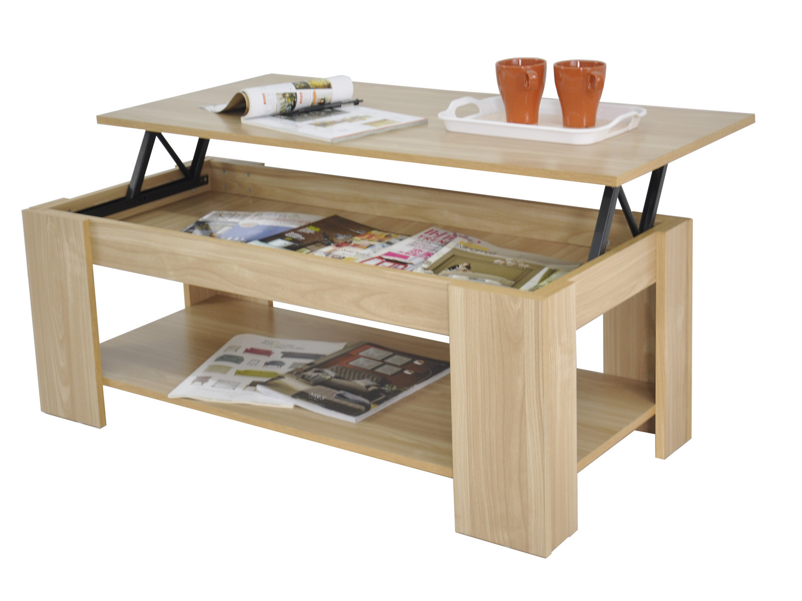 New Kimberly Lift Up Top Coffee Table With Hidden Storage Shelf