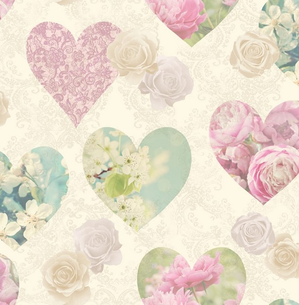 fine d cor cream shabby chic hearts wallpaper hearts floral boughs rh ebay co uk shabby chic hearts uk shabby chic hearts ebay