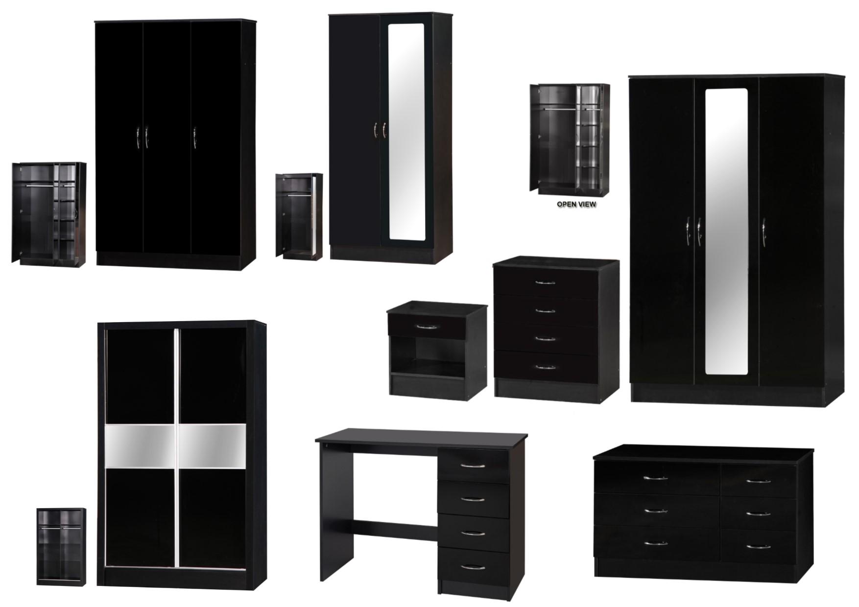 Alpha Black Gloss Bedroom Furniture Bedside Drawers Desk Wardrobes Sets