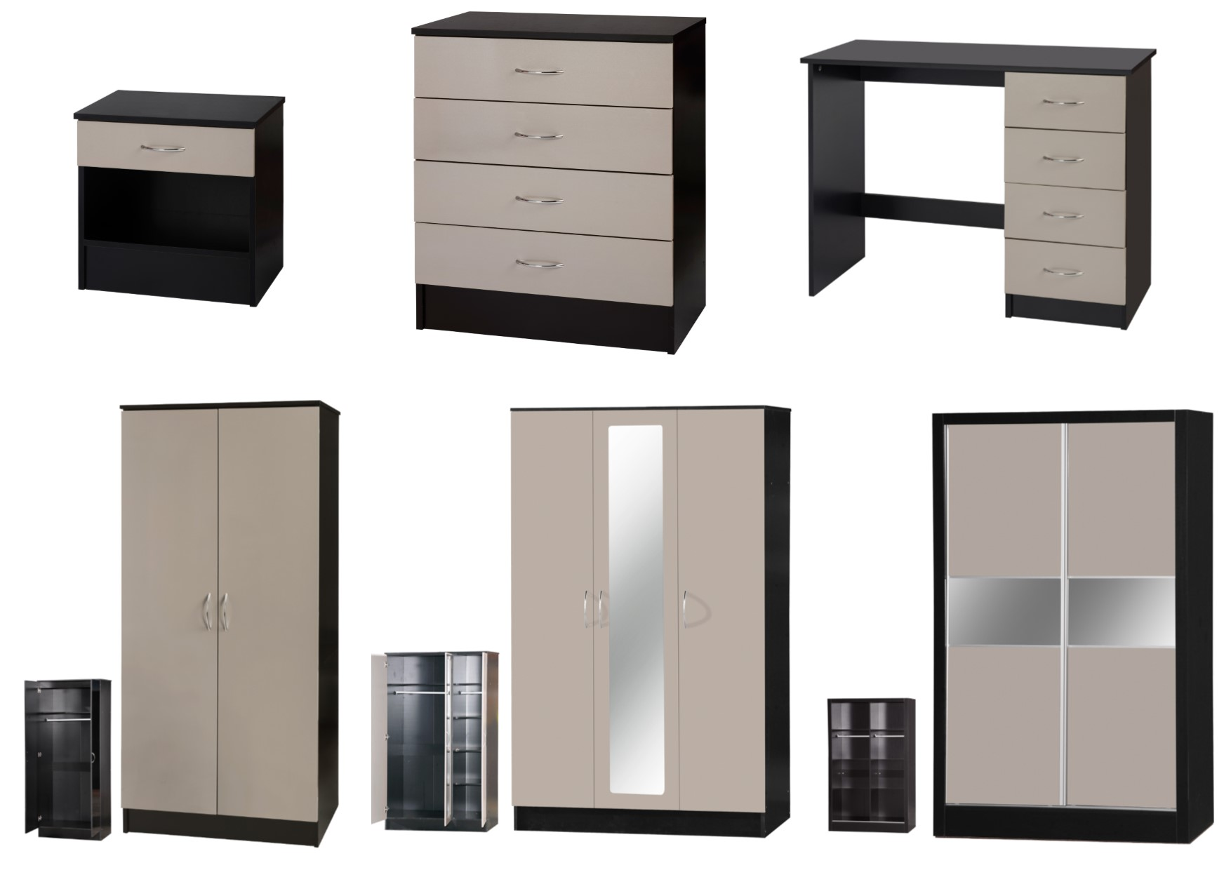 Alpha Grey Gloss Black Bedroom Furniture Bedside Drawers