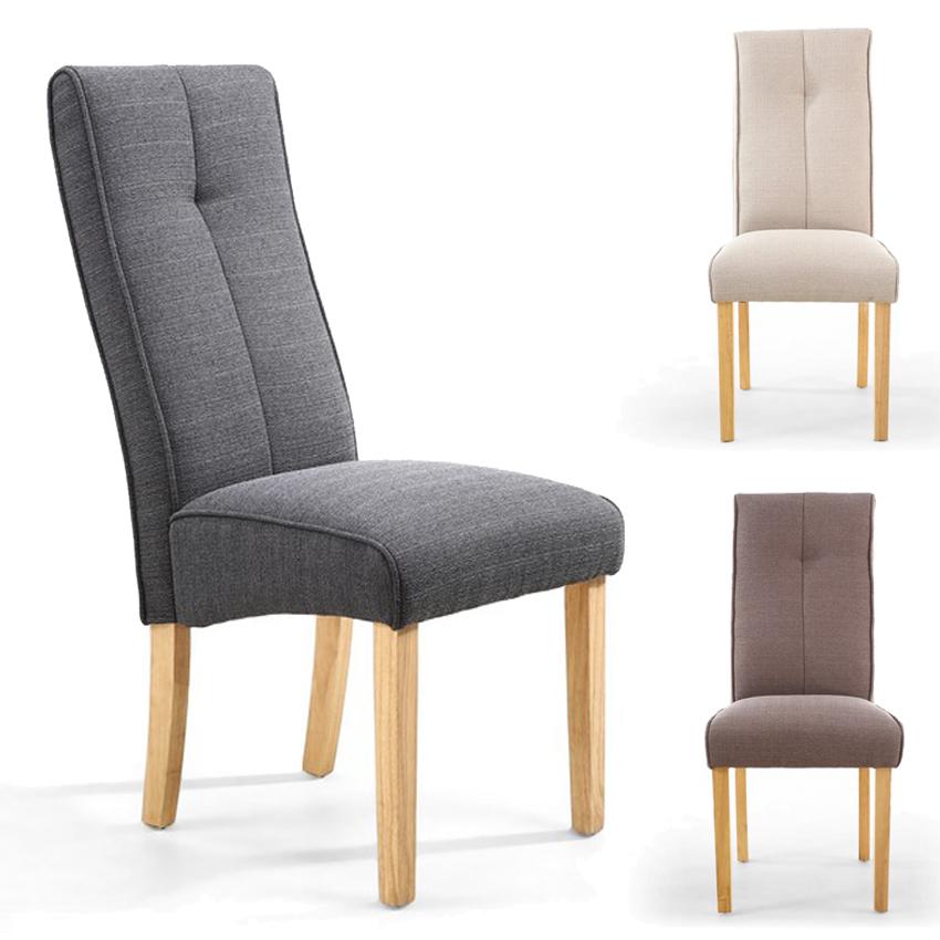 Shankar Linea Linen Effect Dining Room Chair Brown Cream Grey X2