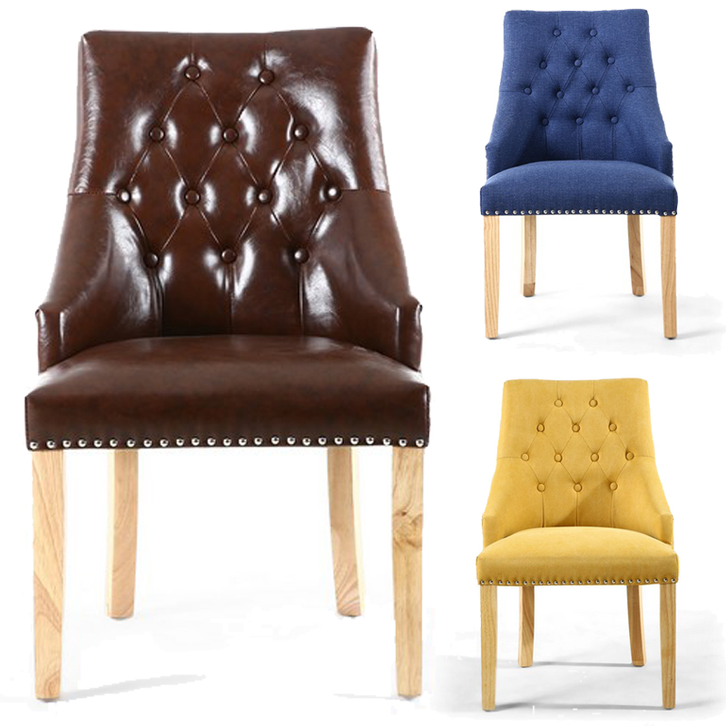 Shankar Button Back U0026 Nailhead Trimmed Leather Chair Blue Brown Or Yellow