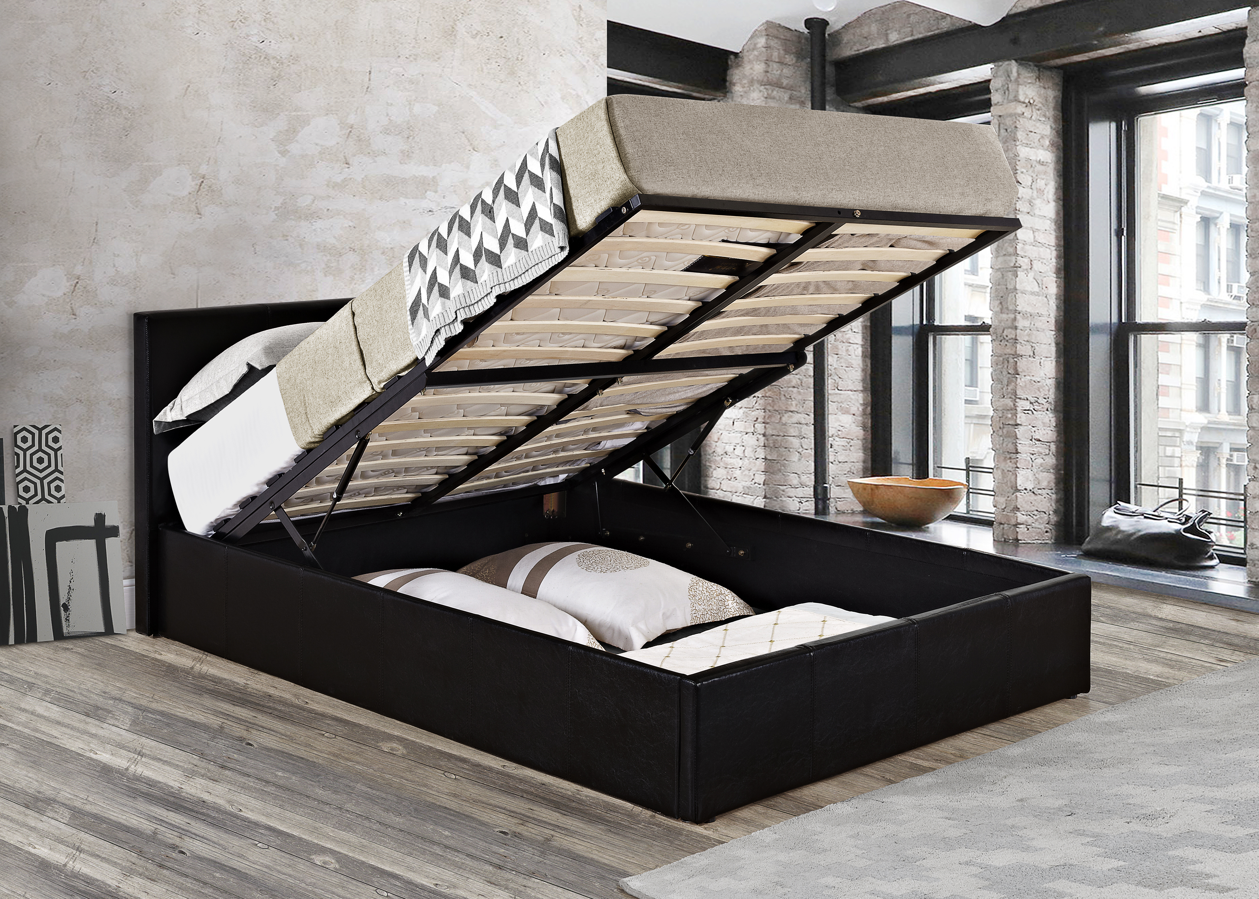Double Ottoman Bed Lift Up Storage Black Mattress Optional Caspian