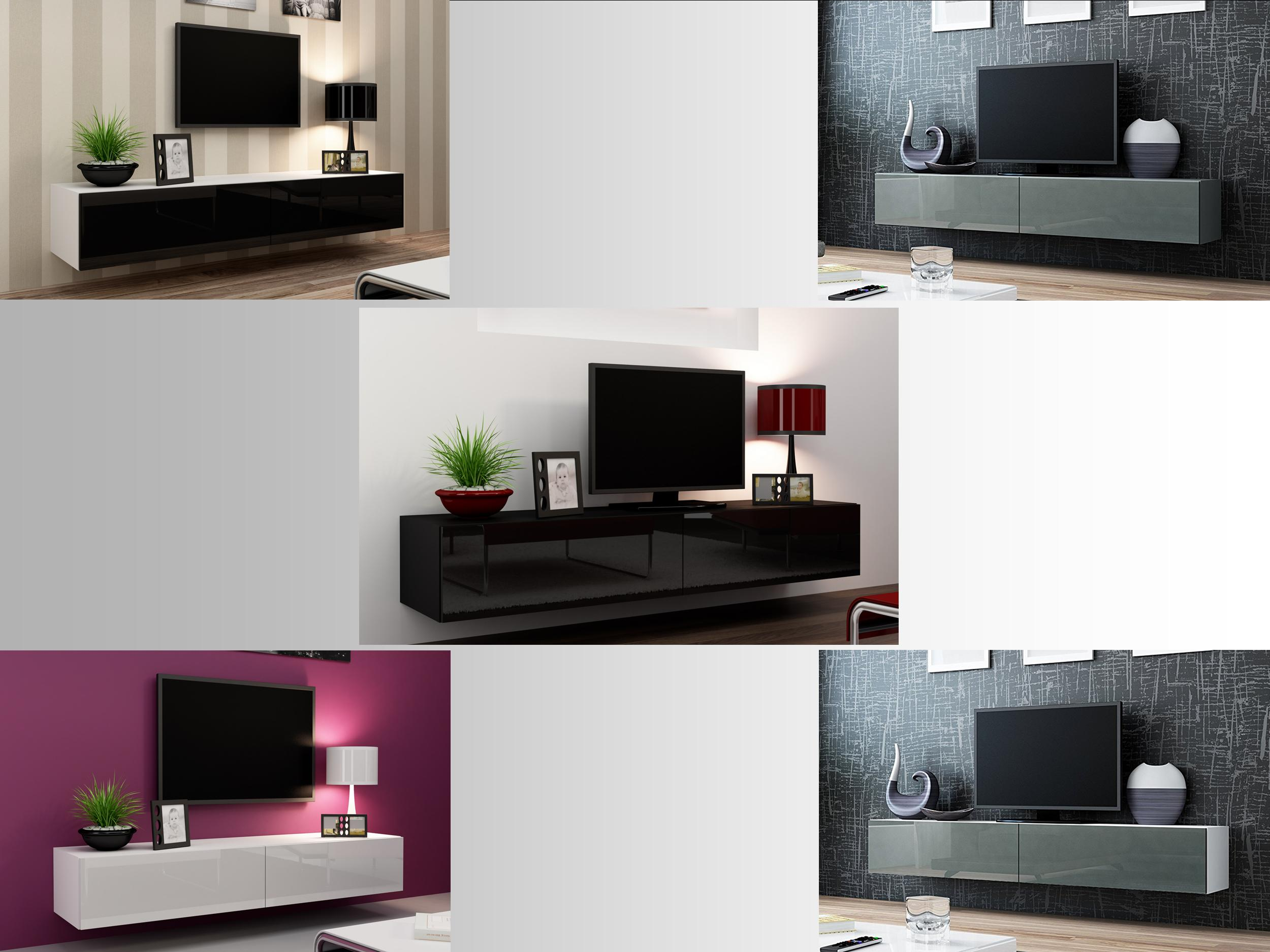 High Gloss Tv Stand Entertainment Cabinet 180cm Floating Wall