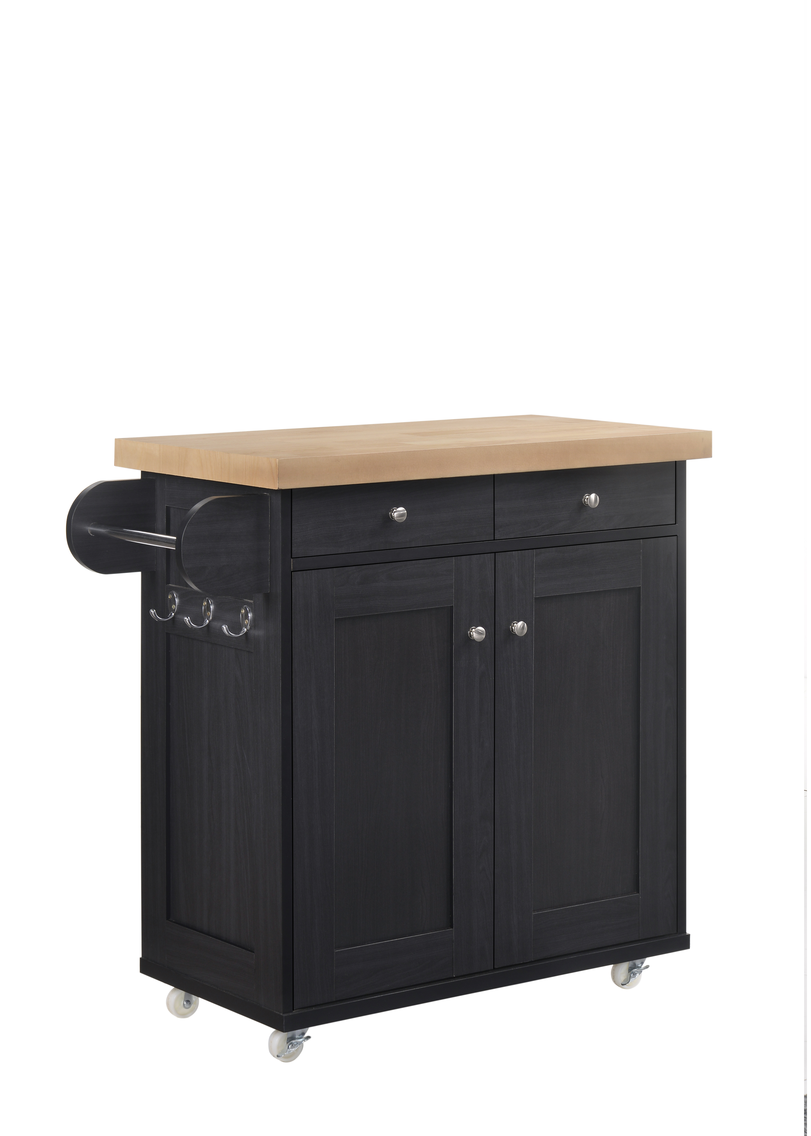 Portable Kitchen Island Trolley Cart On Wheels With Cupboard Storage Black