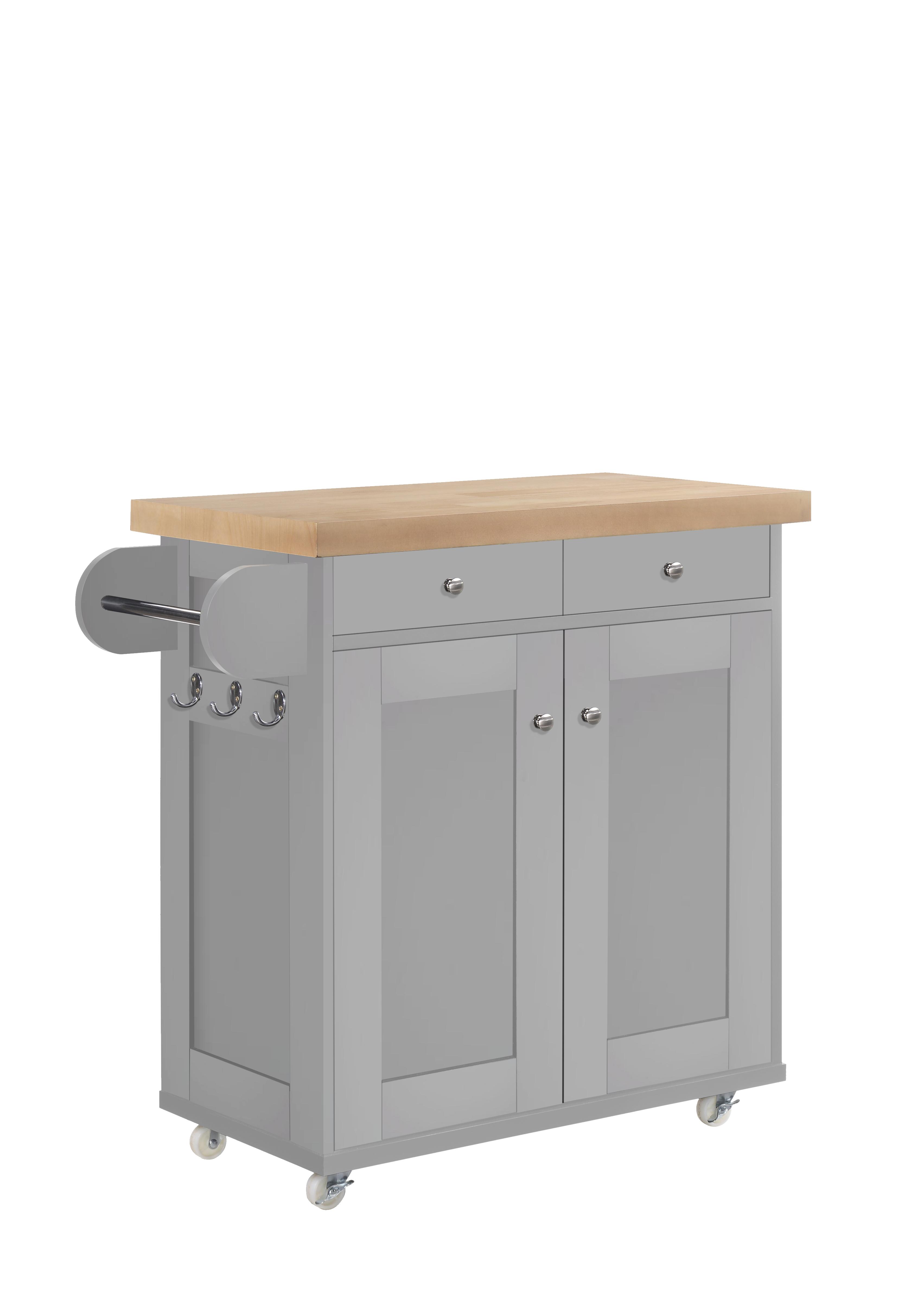 Portable kitchen island trolley cart on wheels with cupboard storage grey