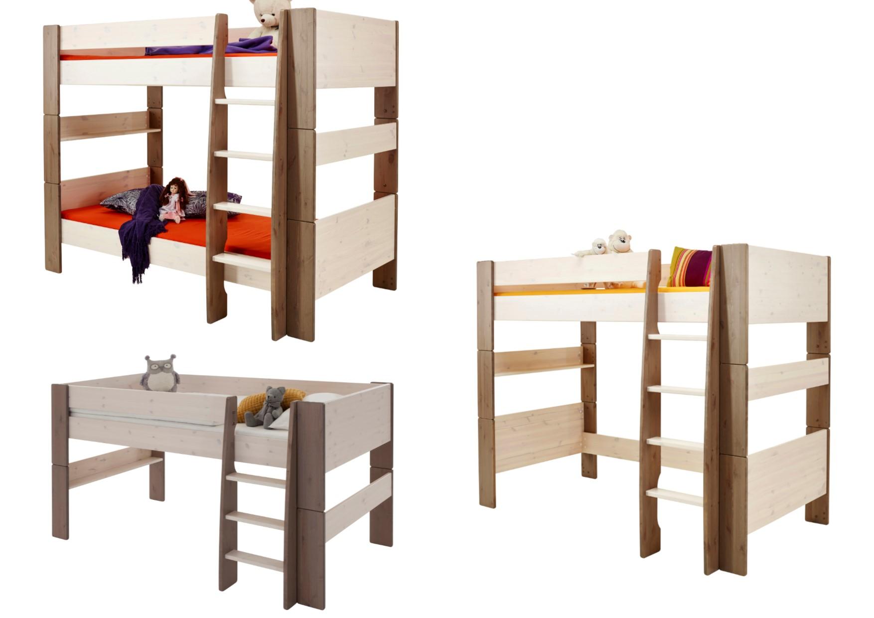 992534e6177 Steens Cream   Brown Pine Kids Beds - Midsleeper