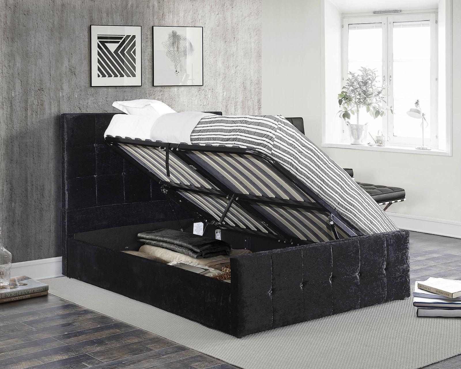 Birlea Portobello Side Lift Ottoman Bed Black Crushed