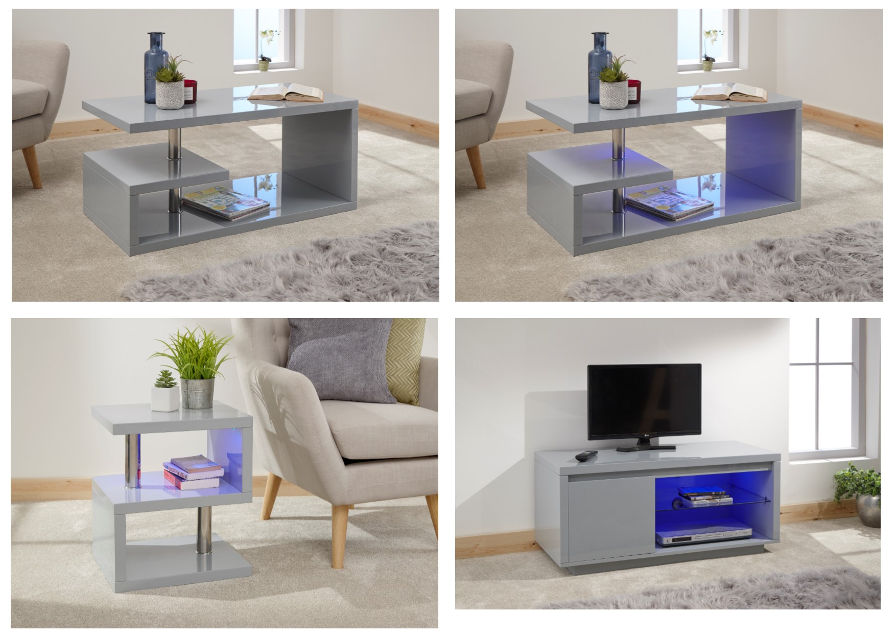 Details About Polar Grey Modern Led Lit High Gloss Coffee Table Sideboard Tv Units
