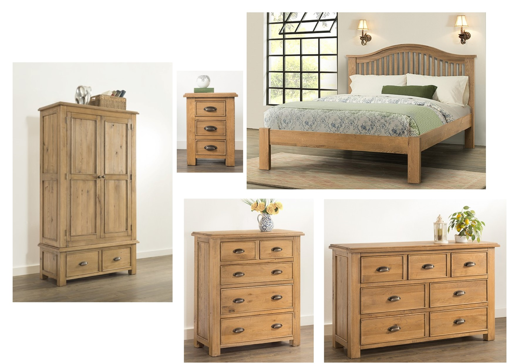 Solid Oak Bedroom Furniture | Autumn Rustic Solid Oak Bedroom Furniture 4ft6 Bed Bedside Chests