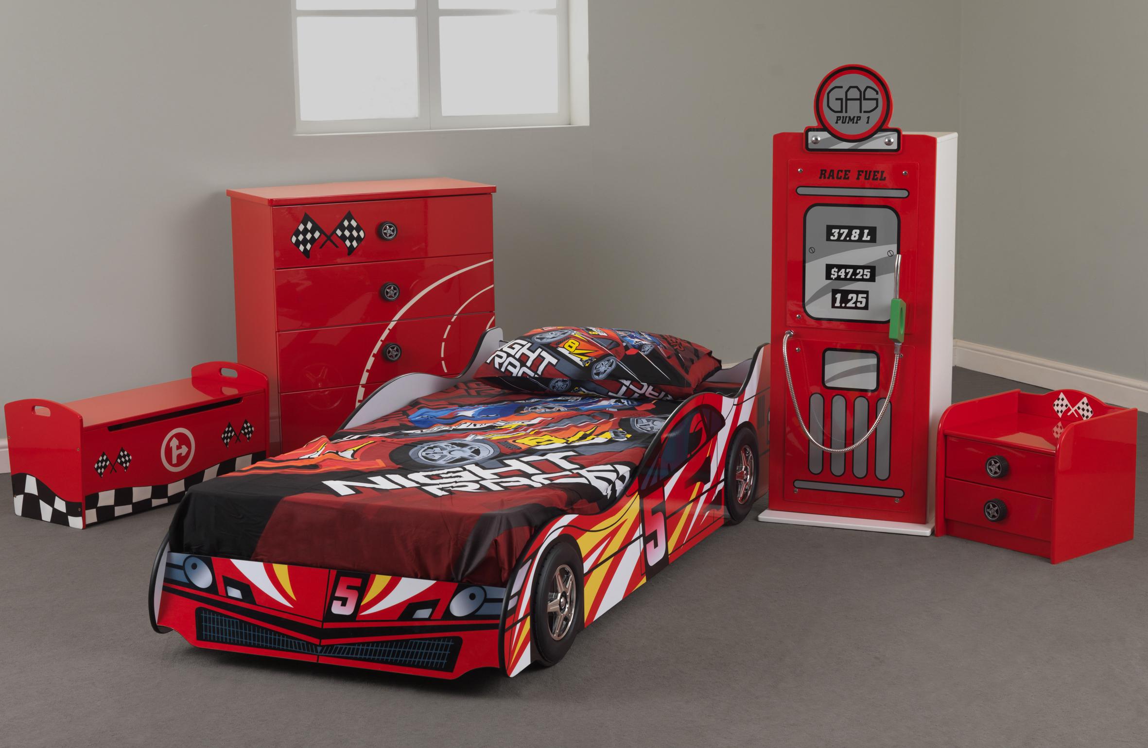 Sweet Dreams Formula One Childrens Race Car Bedroom Furniture Range Red Blue