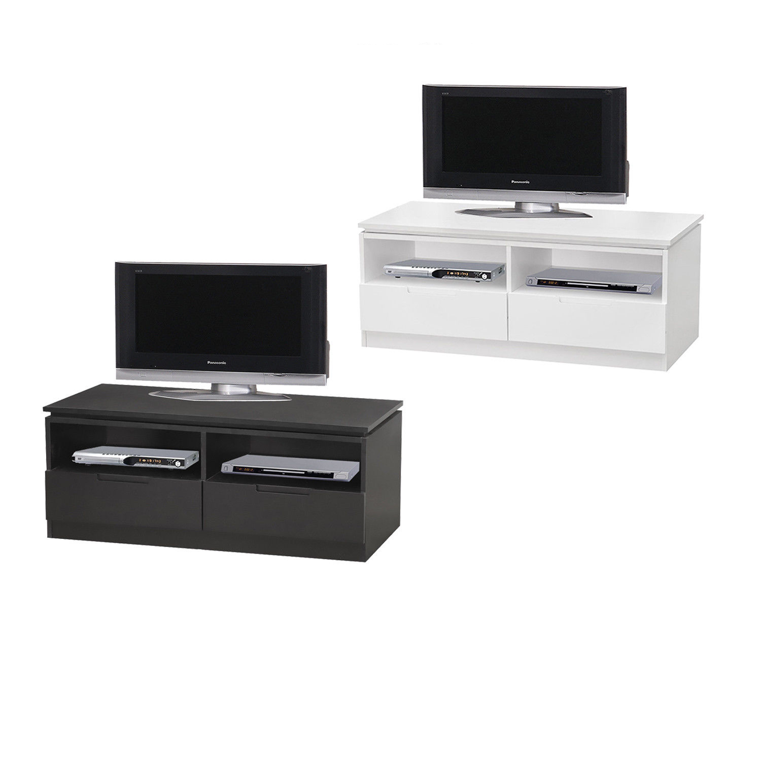 new style 576d0 807ba Details about Orb TV Cabinet with 2 Drawers and Shelves - 100cm Wide -  Black or White