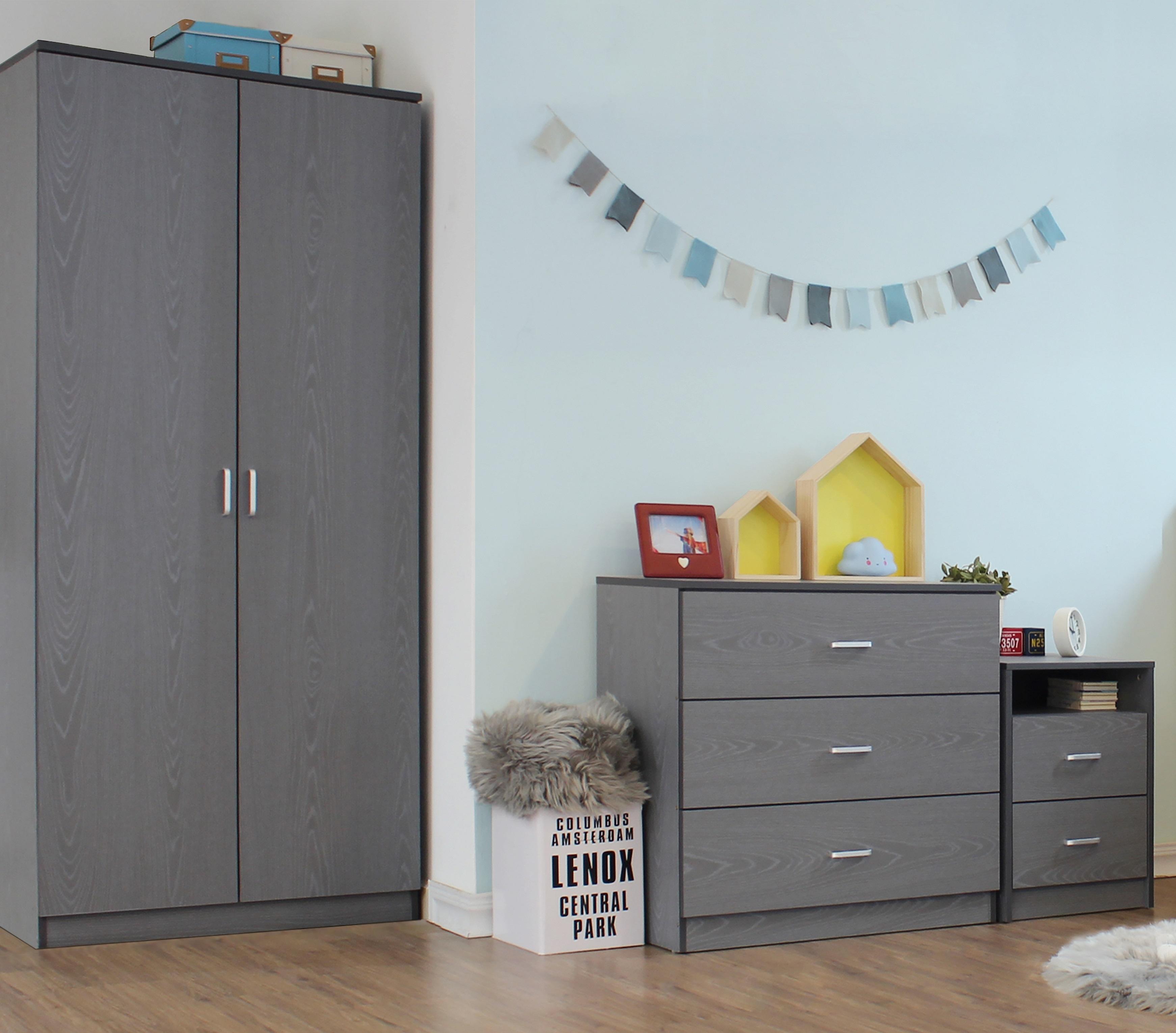 Seconique Felix 3 Piece Bedroom Furniture Set Wardrobe Chest Bedside Grey 5056065613094 Ebay