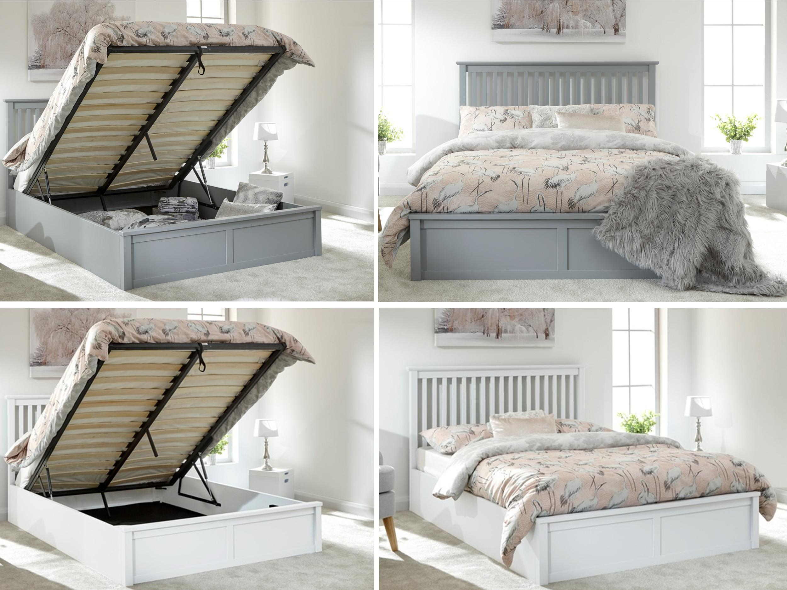 Picture of: Como Wooden Ottoman Lift Up Storage Bed Grey Or White Single Double Kingsize Ebay
