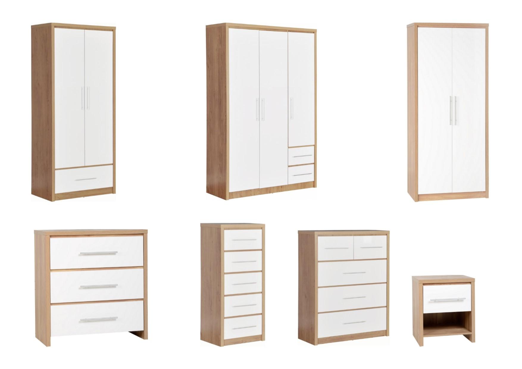 Details About Seconique Seville Bedroom Range Oak White High Gloss Wardrobe Chest Bedside