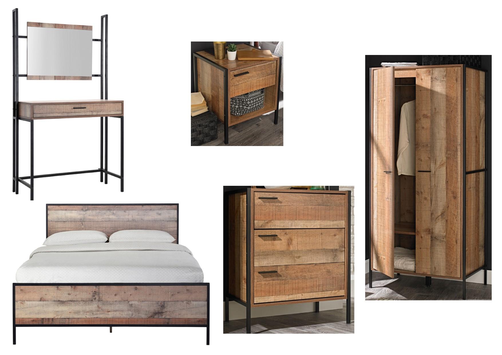 Details about Hoxton Urban Rustic Bedroom Furniture Metal Frames - Bedside,  Drawers, Wardrobe