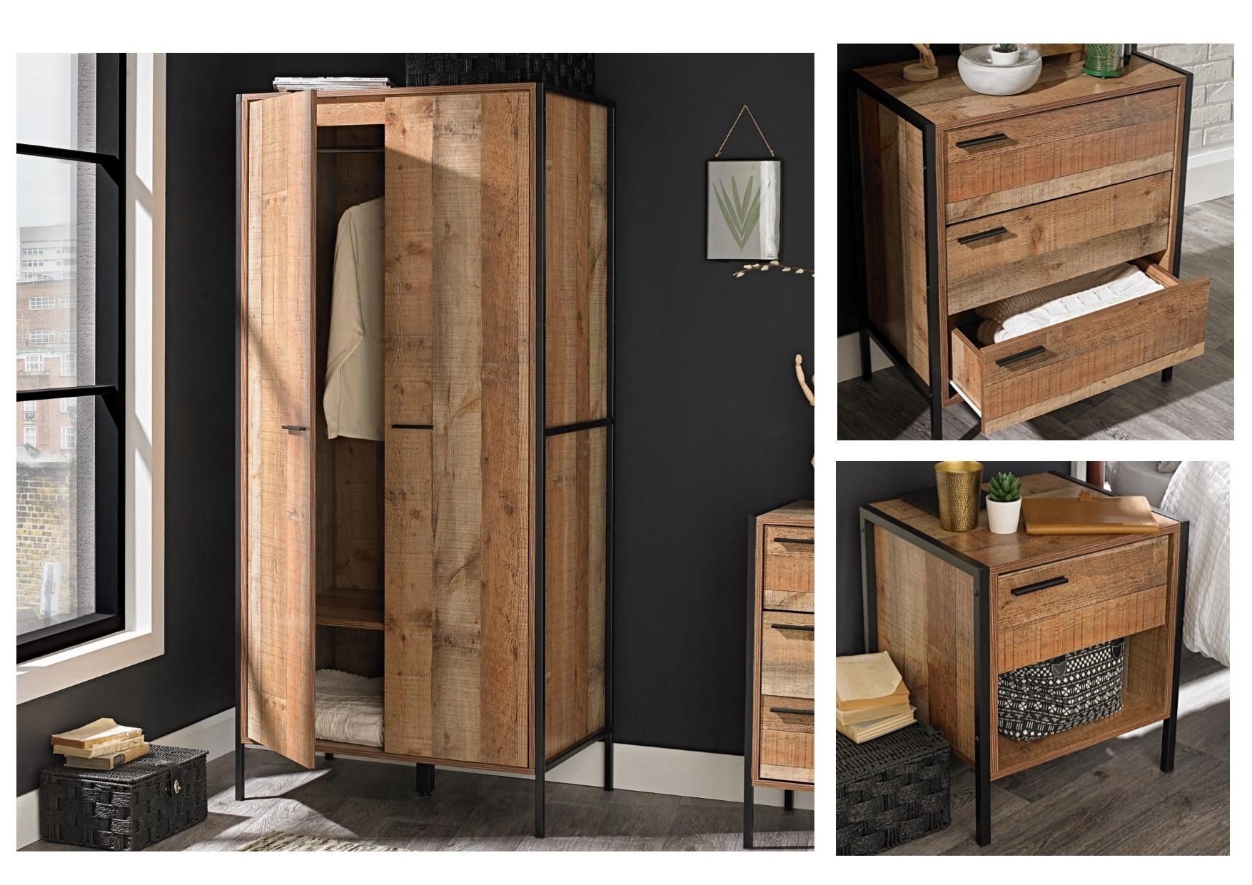 Hoxton urban rustic bedroom furniture set metal frames bedside drawers