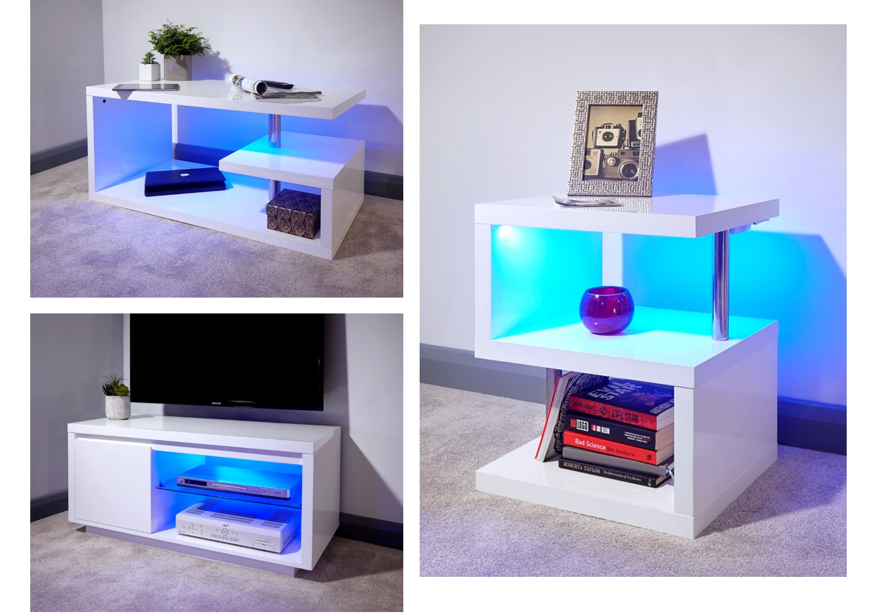 Polar Led White Gloss Living Room Furniture Coffee Lamp Tables Tv Unit